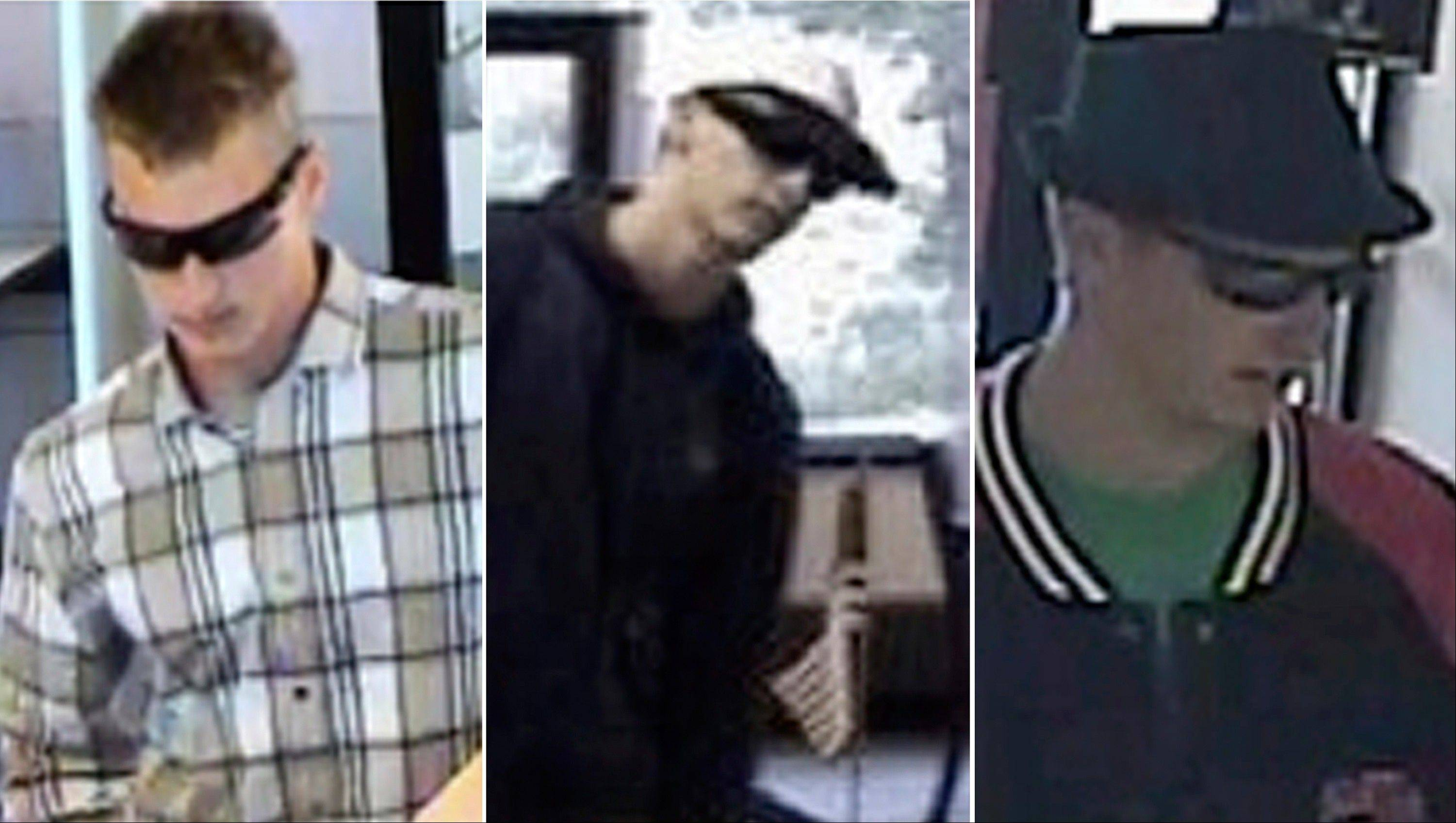 This combination of surveillance photos released by the Federal Bureau of Investigation shows Andrew Maberry, a serial bank robber the FBI dubbed the �I-55 Bandit� in, from left, Hurricane, W.Va., on July 30, 2013; Arnold, Mo. on July 2, 2013; and Bel Air, Md. on June 5, 2013.