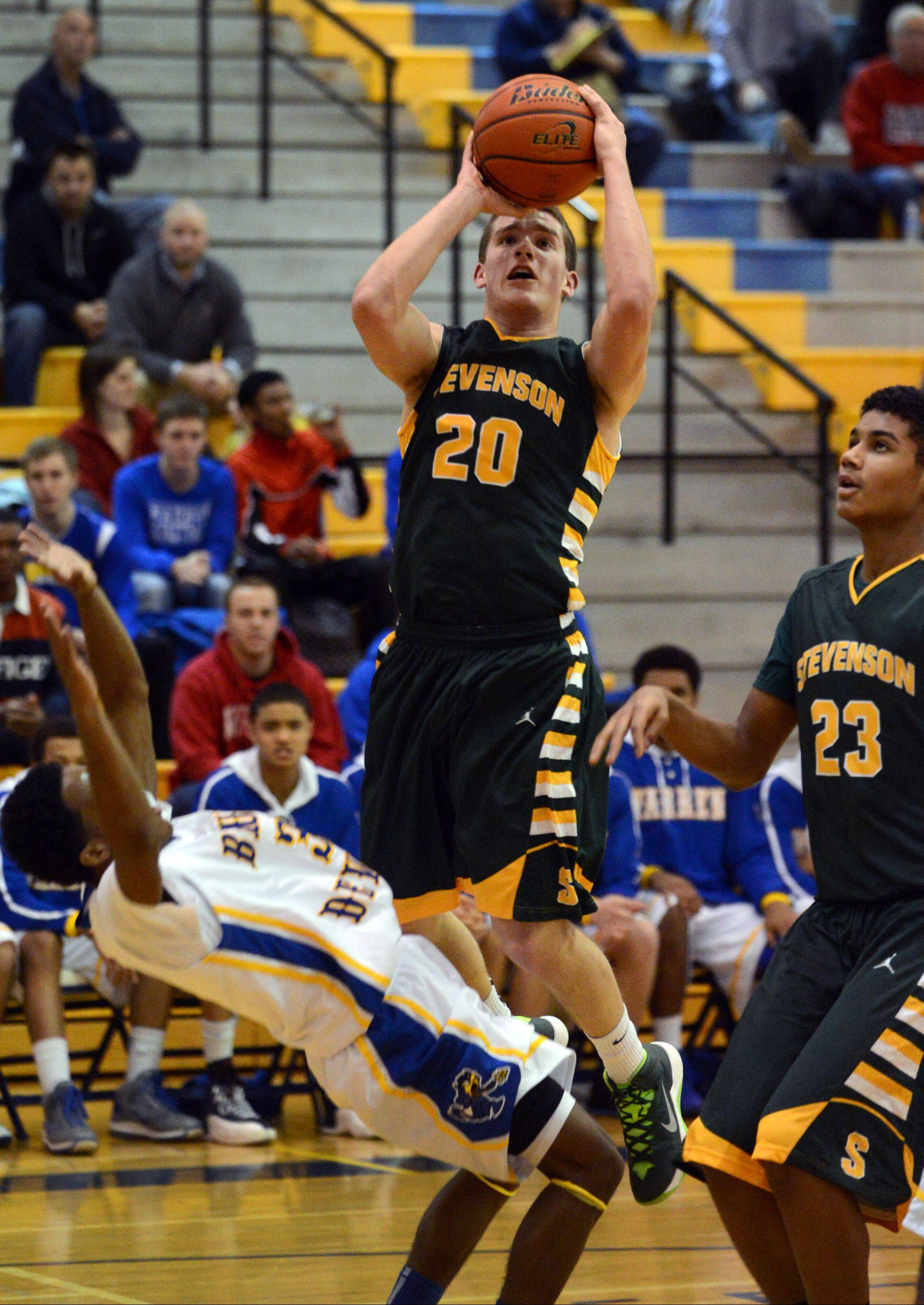Stevenson�s Matthew Morrissey takes a shot Friday night during the Patriots� victory in Gurnee.