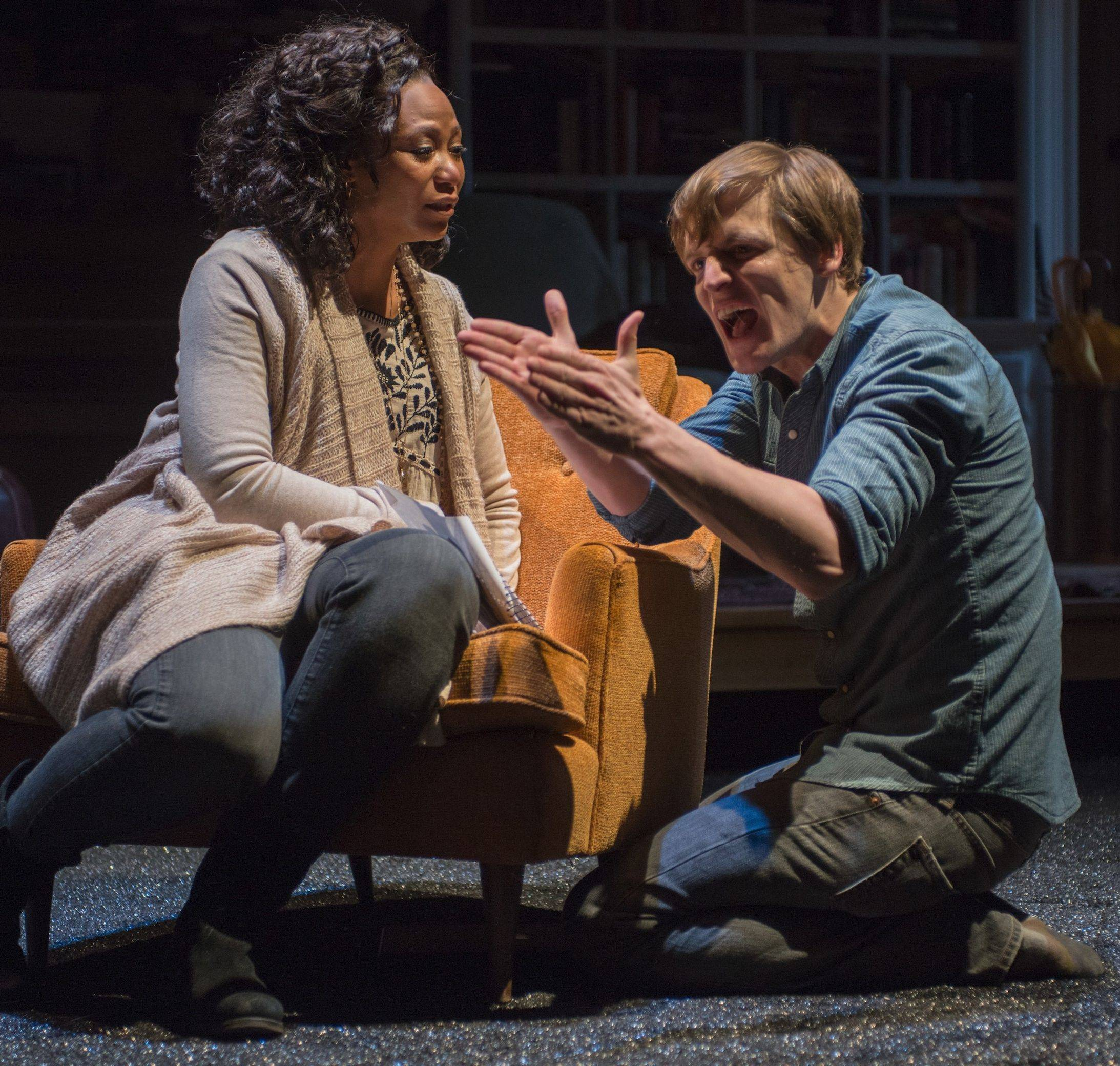 "Sylvia (Alana Arenas), a young woman who is losing her hearing, teaches Billy (John McGinty) to sign in Steppenwolf Theatre's Chicago-area premiere of ""Tribes,"" by British playwright Nina Raine."