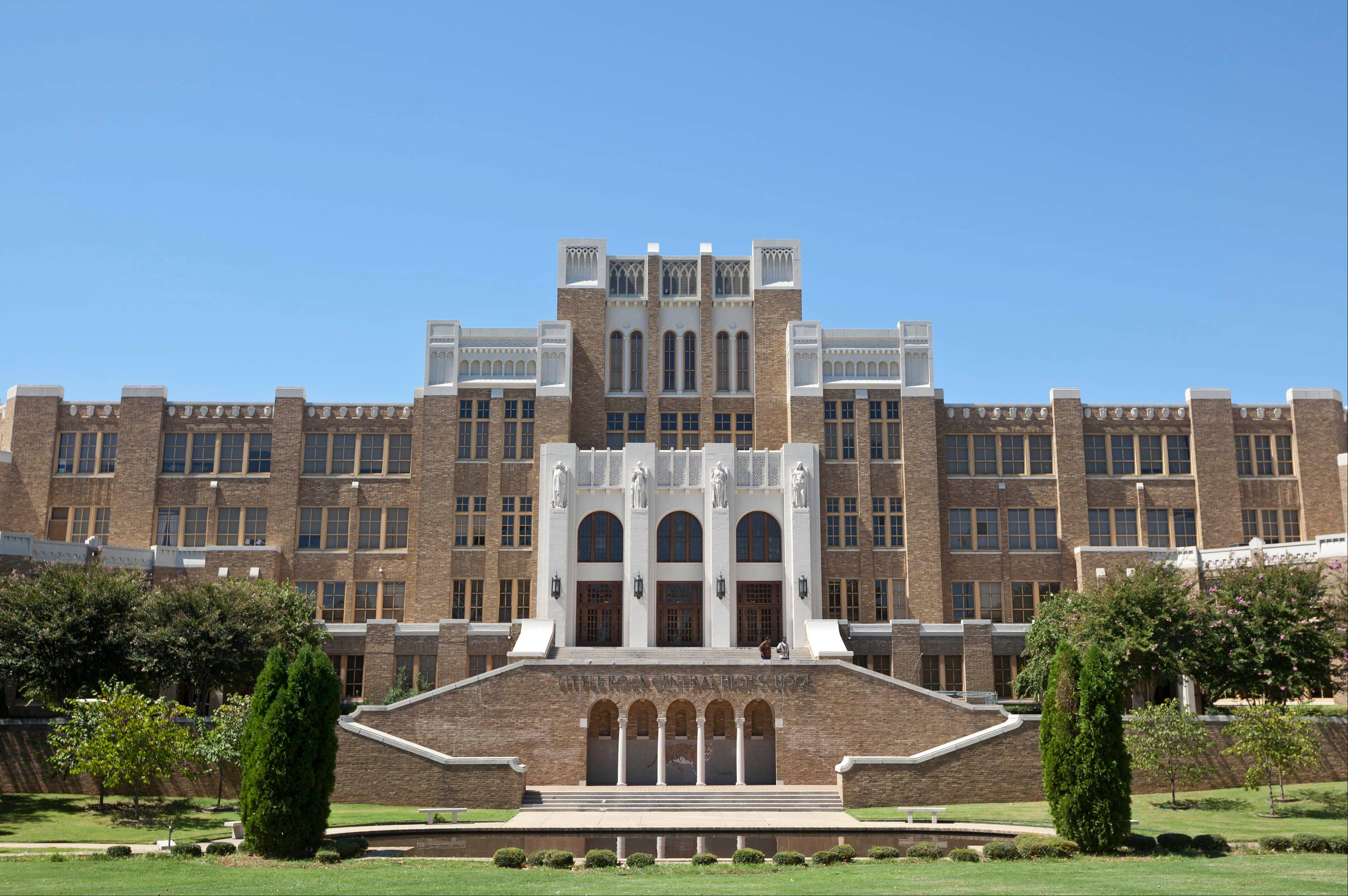 In 1957, Little Rock became the symbol of state resistance to integrating public schools when protesters backed by the governor tried to stop nine black students from entering Central High School and federal troops had to be sent in. Today the school is a National Historic Site.