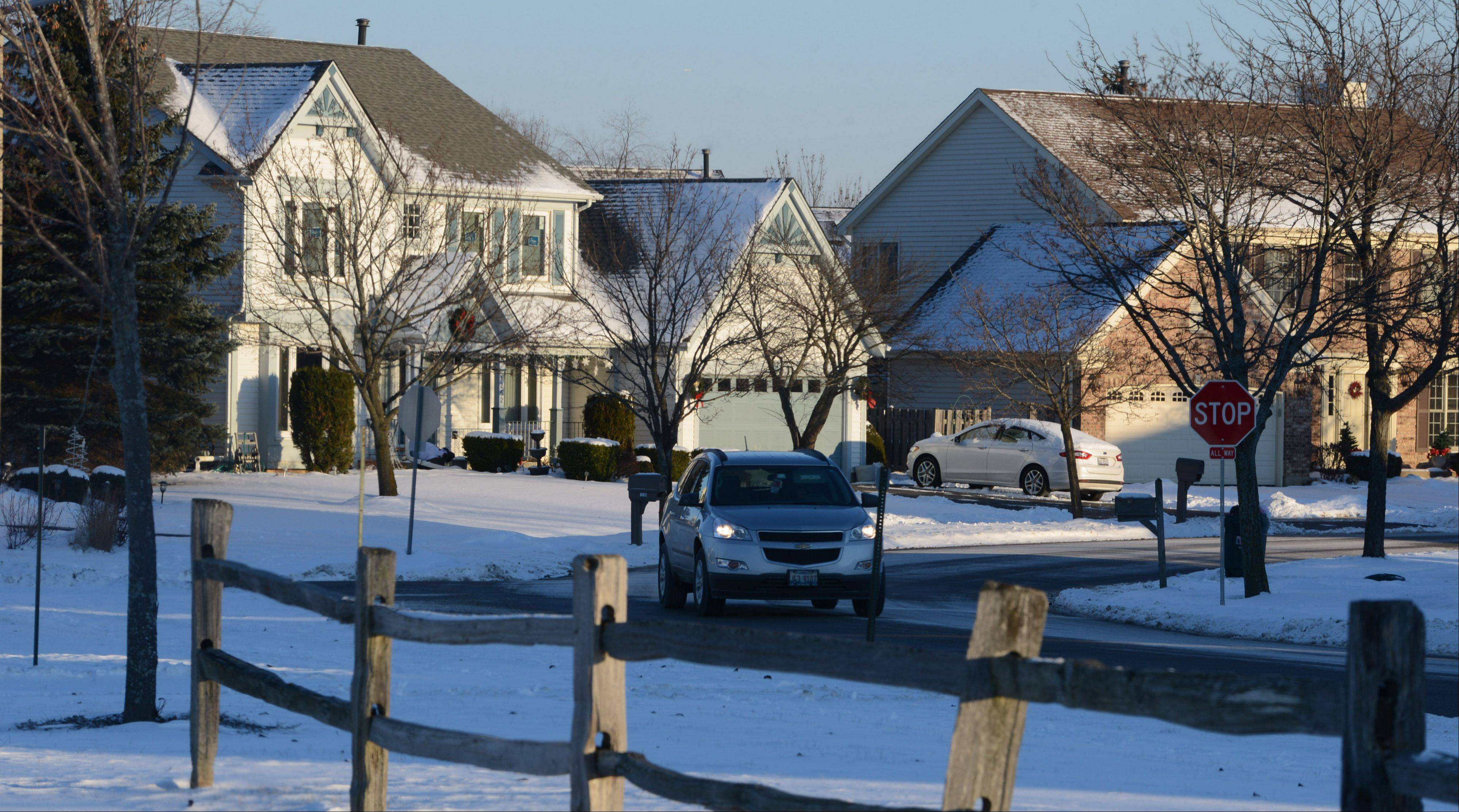 Two-story homes along Pheasant Ridge Drive are typical of those found in the Chestnut corners subdivision.