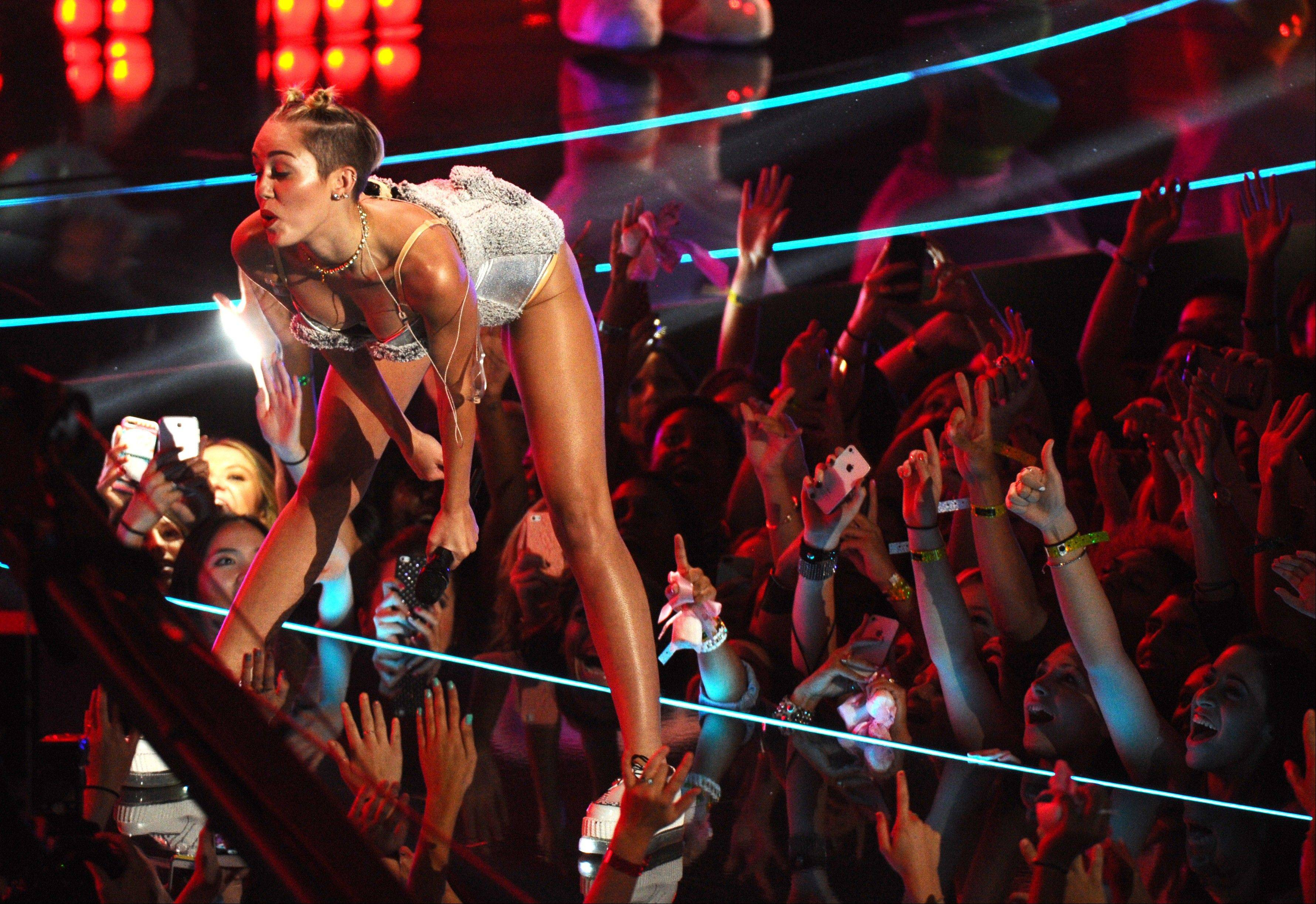 Miley Cyrus performs at the MTV Video Music Awards at the Barclays Center in New York.