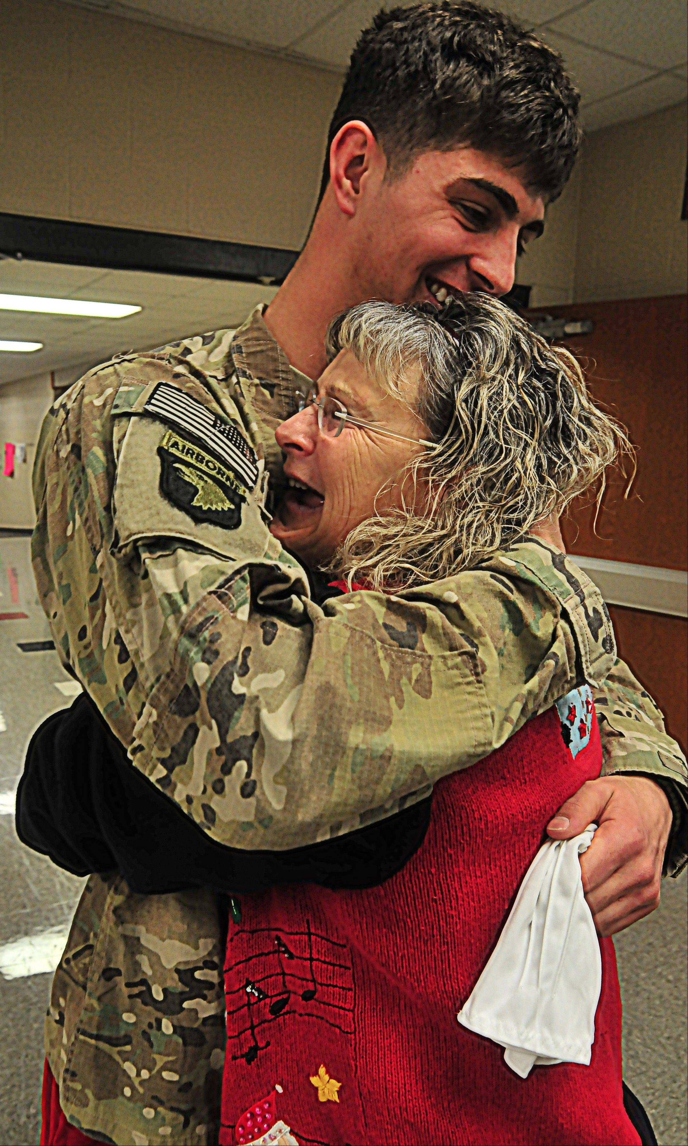 Kim Harris wasn't expecting her son, Army Spc. Ethan Harris, to come home until Monday.
