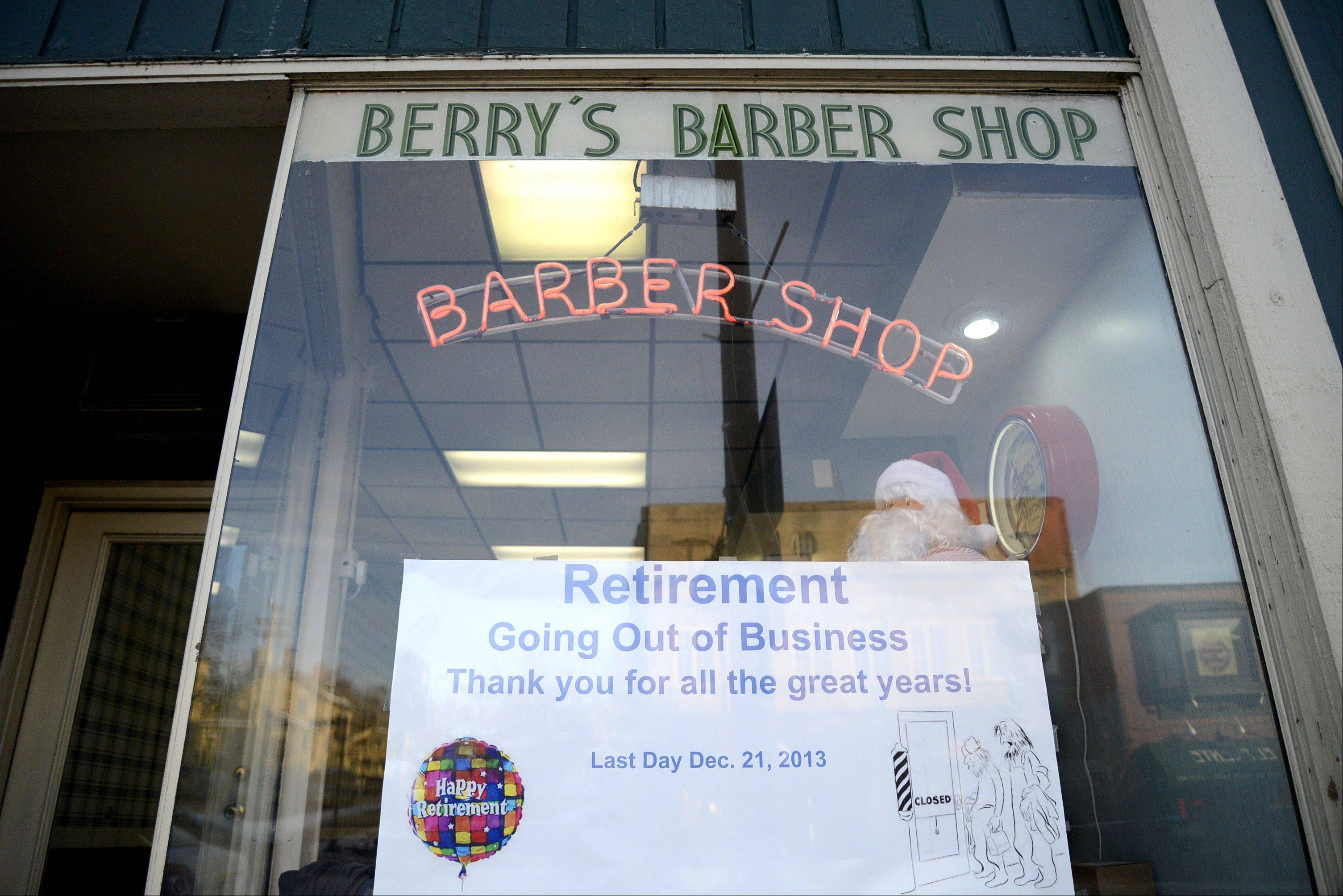 Ron Saltzgiver is retiring after 45 years as a barber in downtown St. Charles. He bought Berry's in 1968.
