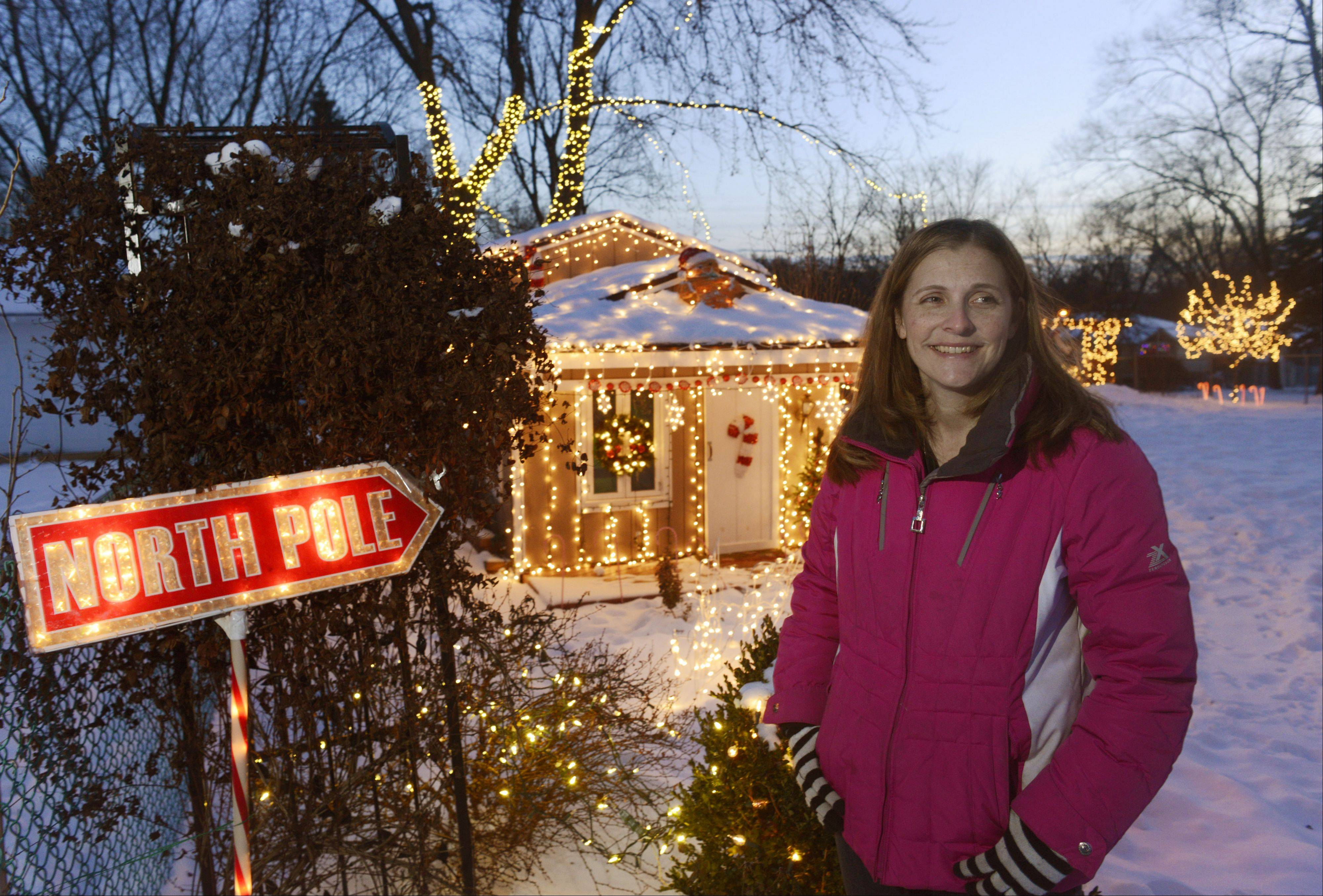 Heather Schluckbier of Schaumburg has decorated her backyard in addition to the front of her home.