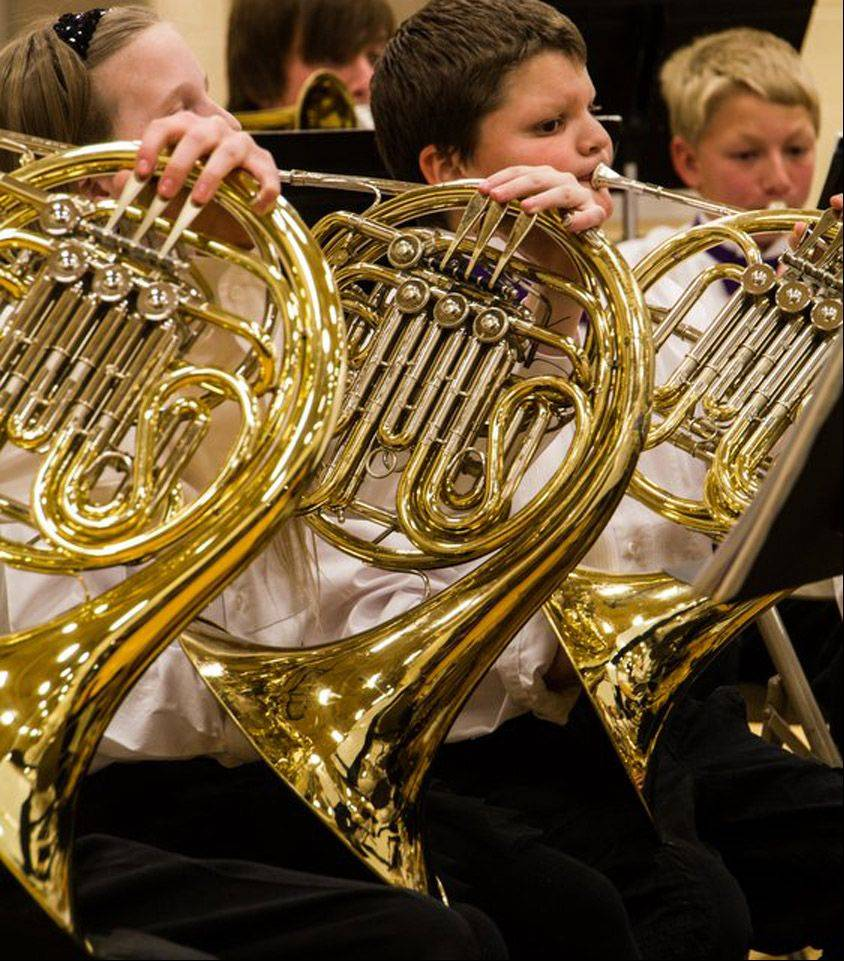 I took the picture last week of my grandson and his French hornsection at a school concert. I like the concentration on his face andthe design of the three horns in a row.