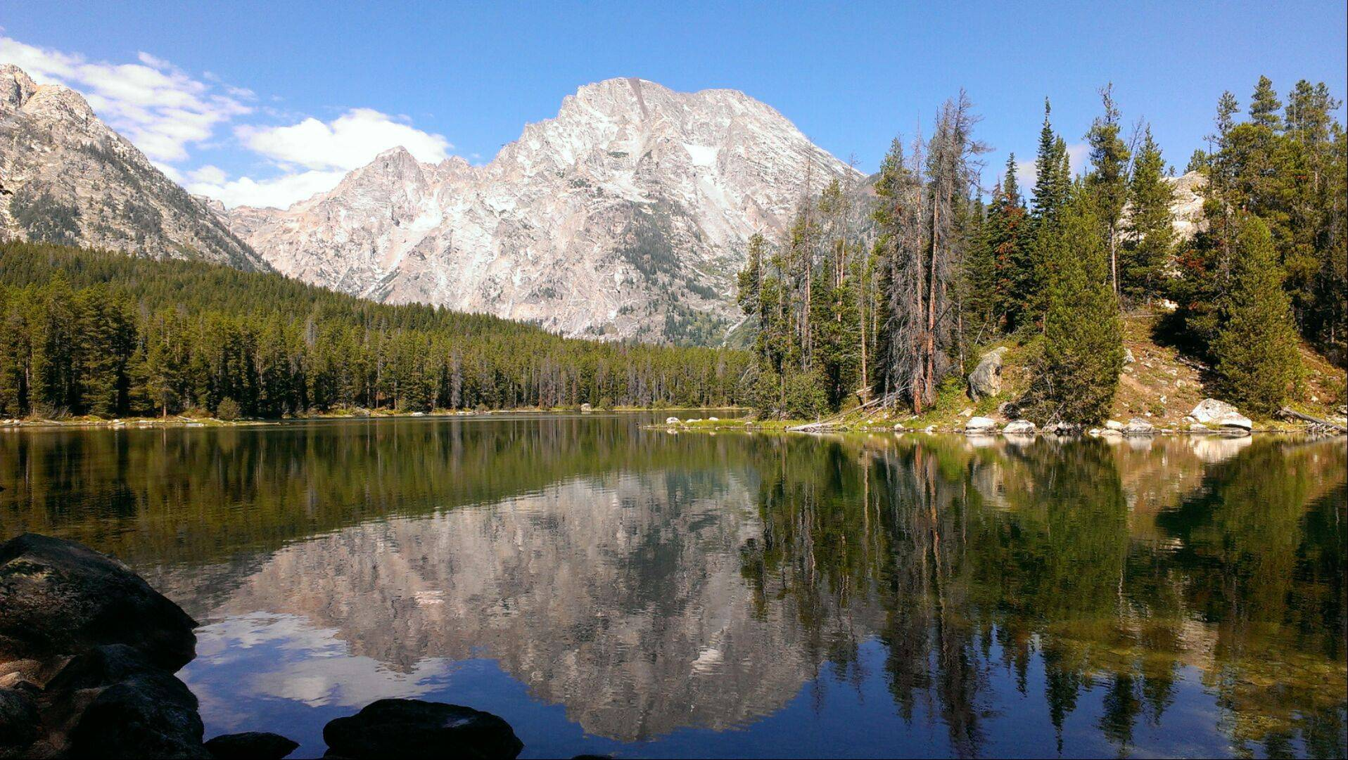 We were hiking on the String Lake Trail in the Grand Teton National Park in September. We took the portage trail to Leigh Lake and this is the photo I took at the end of the portage.