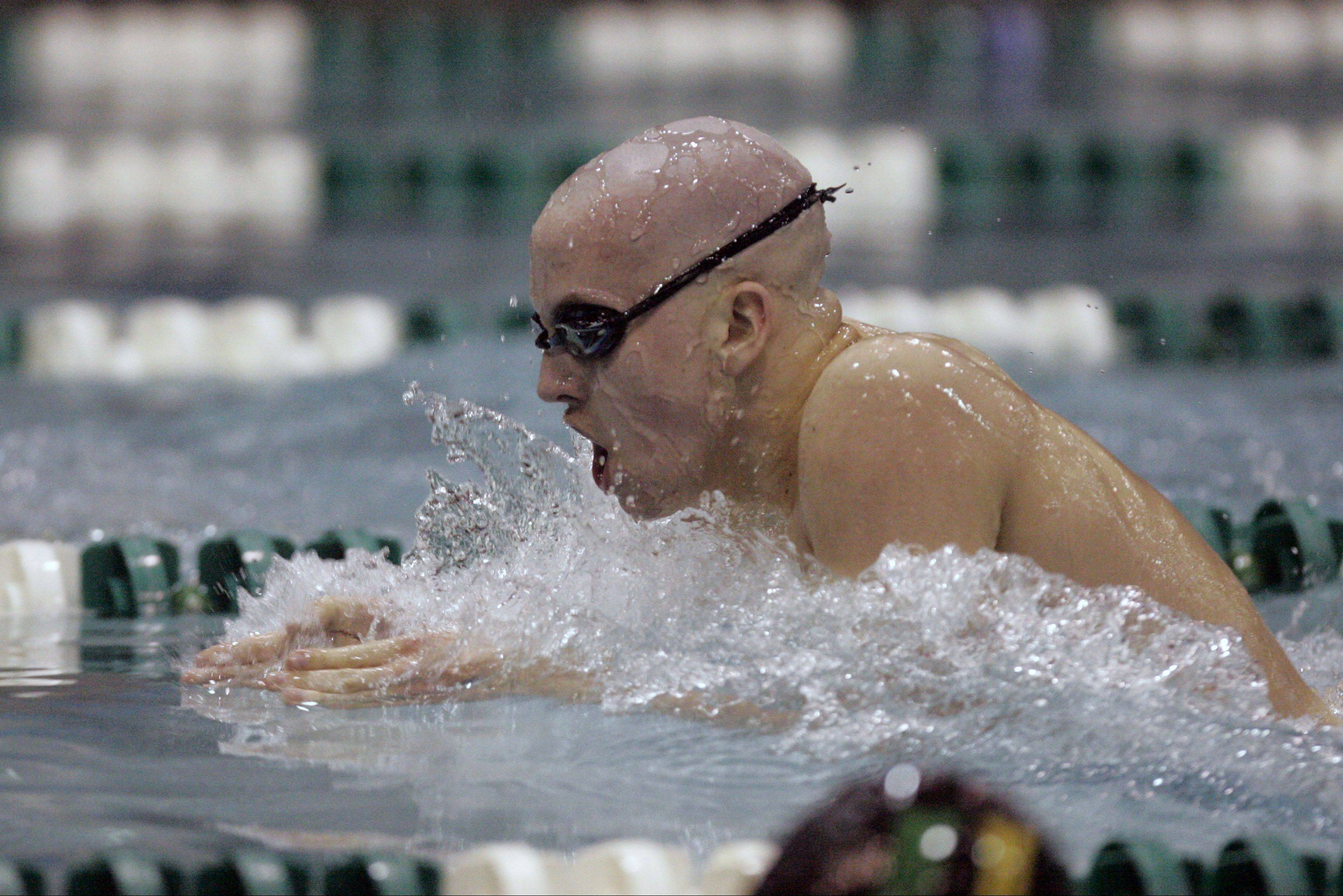 St. Charles East's Will Shanel swims at last year's state meet.