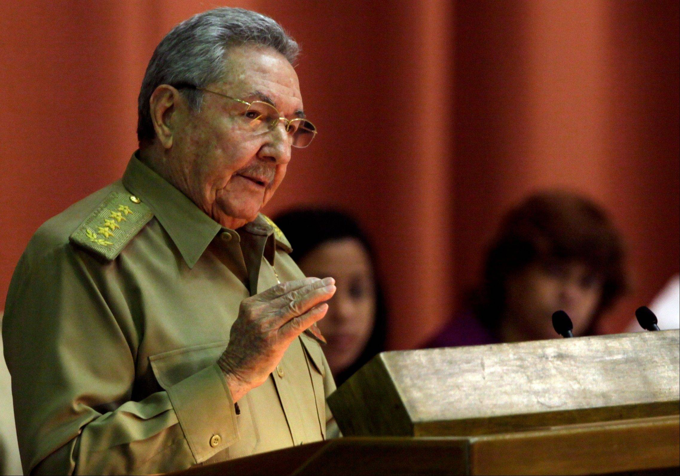 Cuba�s President Raul Castro delivers his speech Saturday at the closing of the second day of a twice-annual legislative sessions, at the National Assembly in Havana, Cuba.