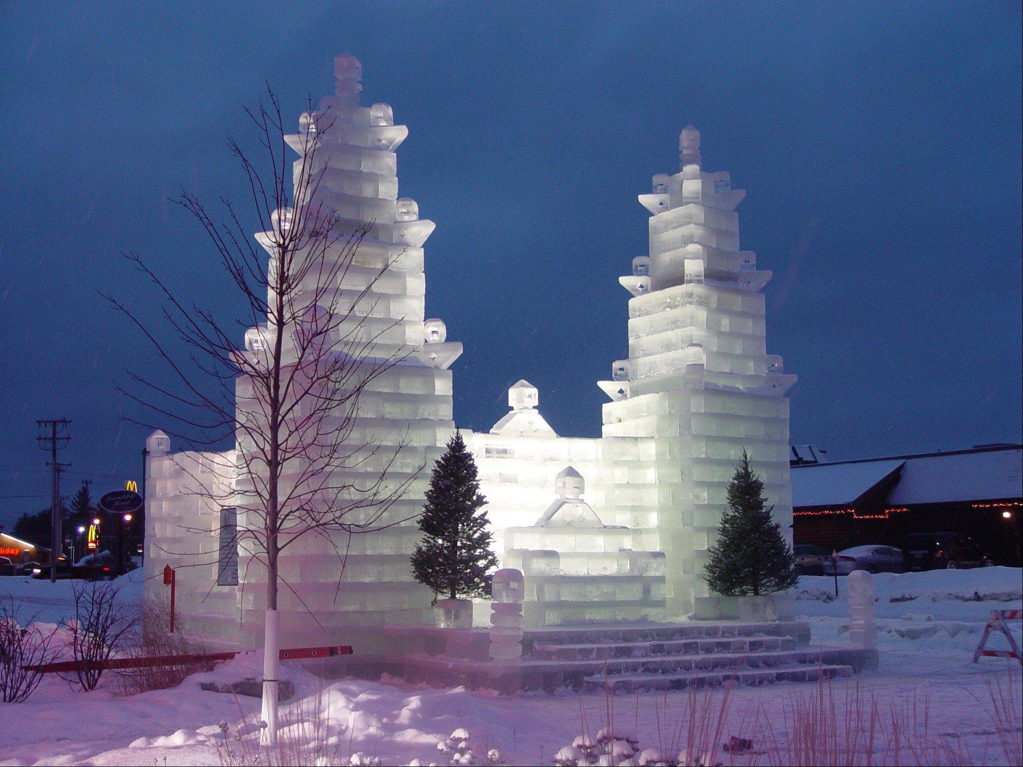 The ice castle in Eagle River, Wis, stays put until the end of February.