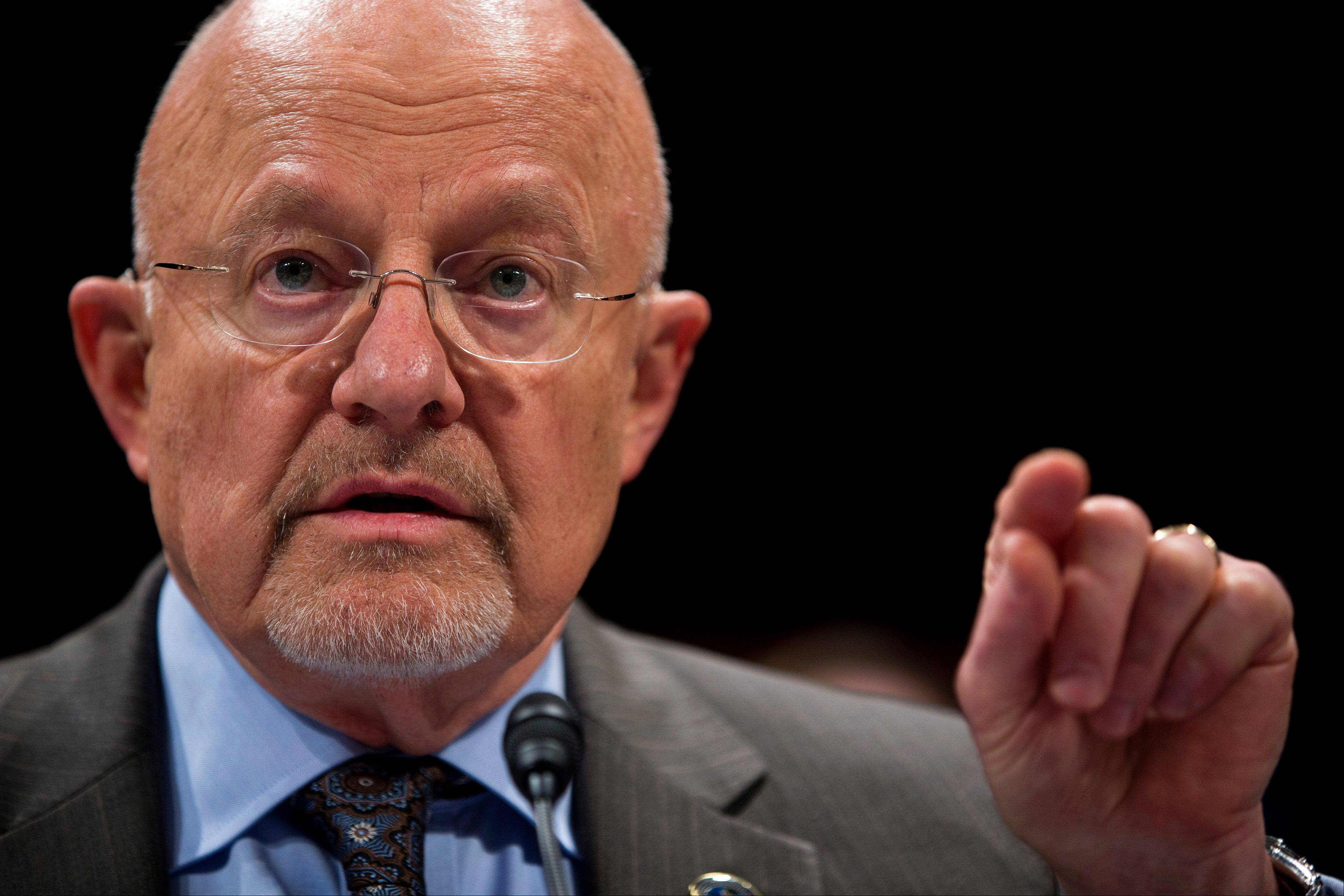 Director of National Intelligence James Clapper testifies on Capitol Hill in Washington.