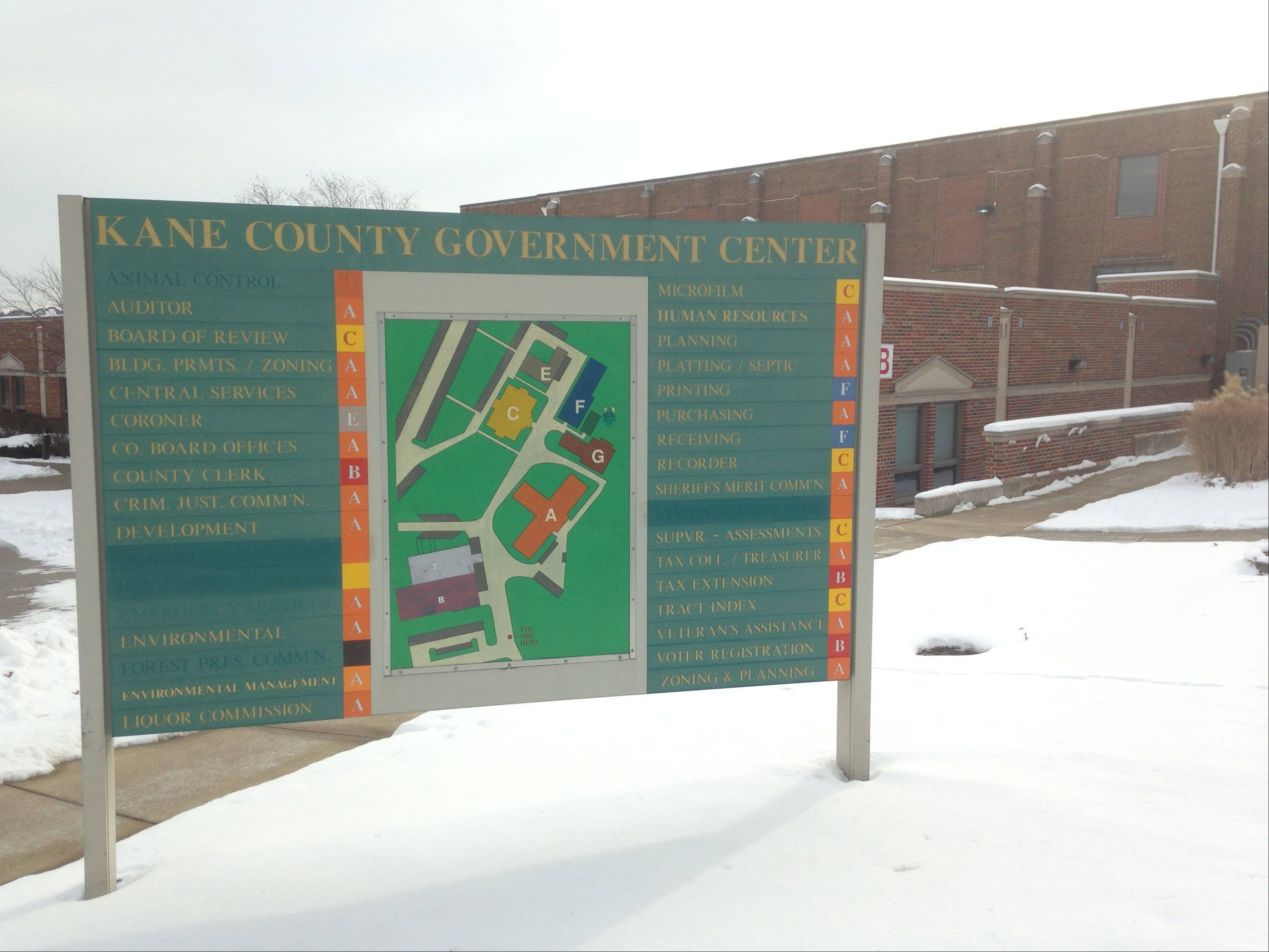 Kane County is considering replacing the signs at the Kane County Government Center in Geneva, to better direct visitors to the right offices. The proposed contract is more than $47,000.