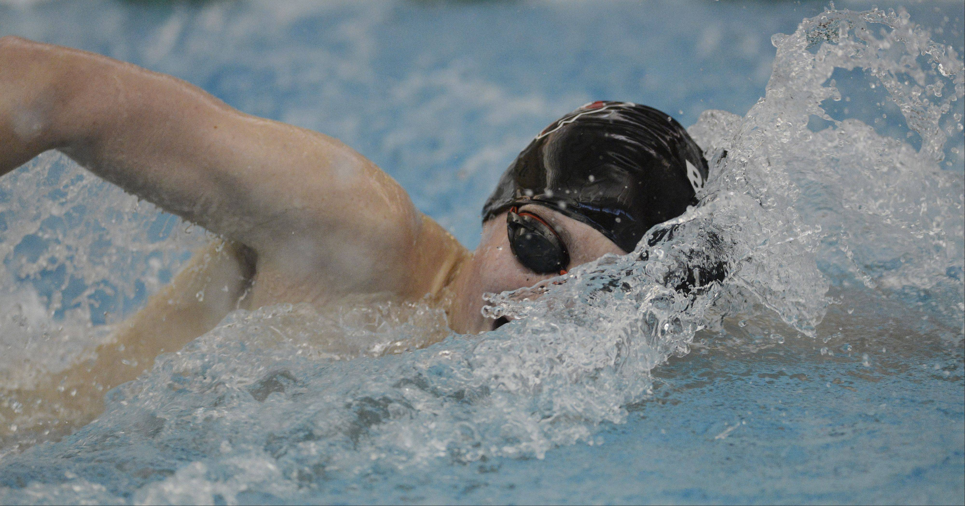 Barrington's Andrew Fish swims the 200-yard freestyle during the Lake County boys swimming meet at Stevenson High School in Lincolnshire Saturday.