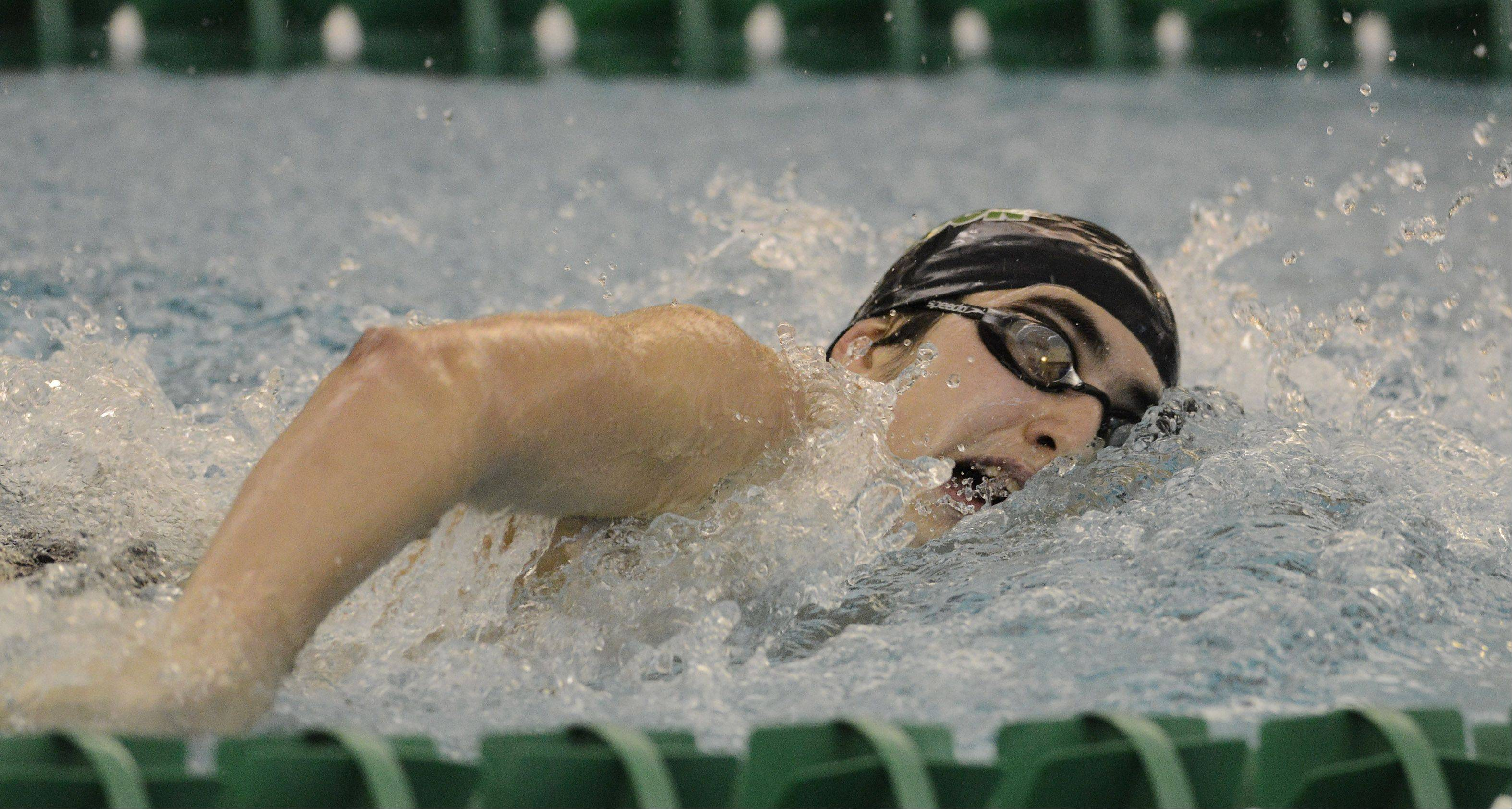 Stevenson's Nick Koto swims the 200-yard freestyle during the Lake County boys swimming meet at Stevenson High School in Lincolnshire Saturday.