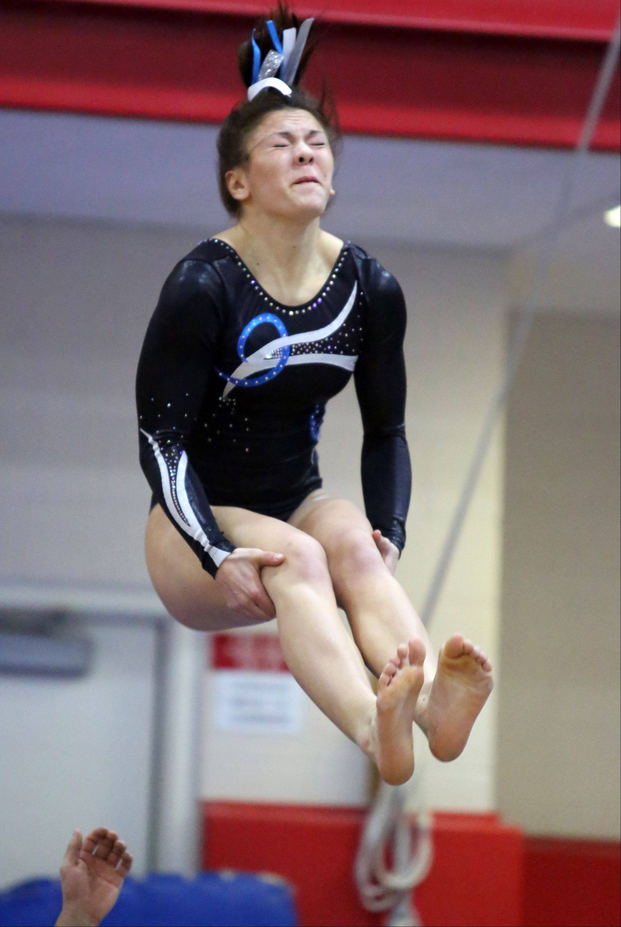 Prospect's Jackie Difonzo on the vault at the 25th annual Palatine Invitational on Saturday.