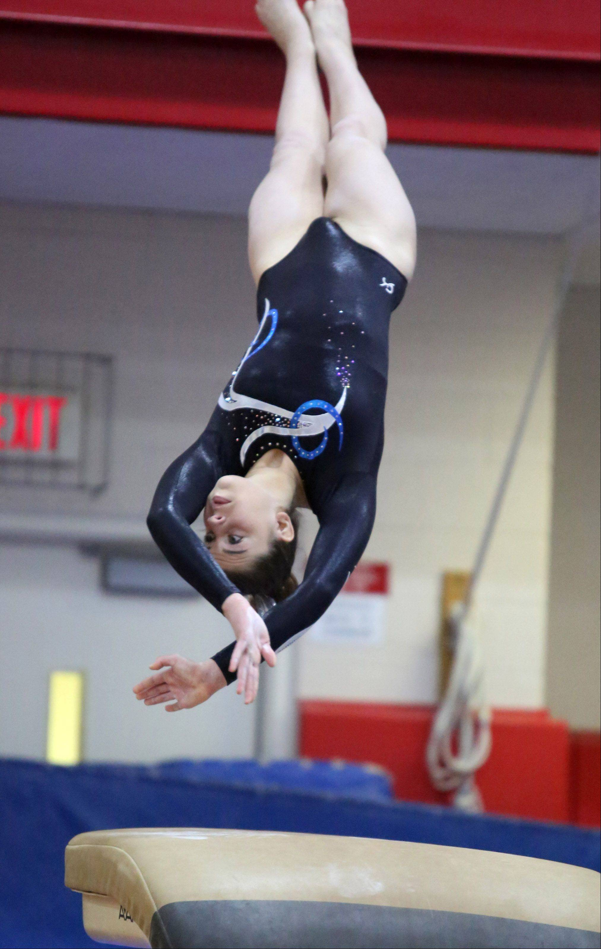 Prospect's Megan Schmit on the vault at the 25th annual Palatine Invitational on Saturday.