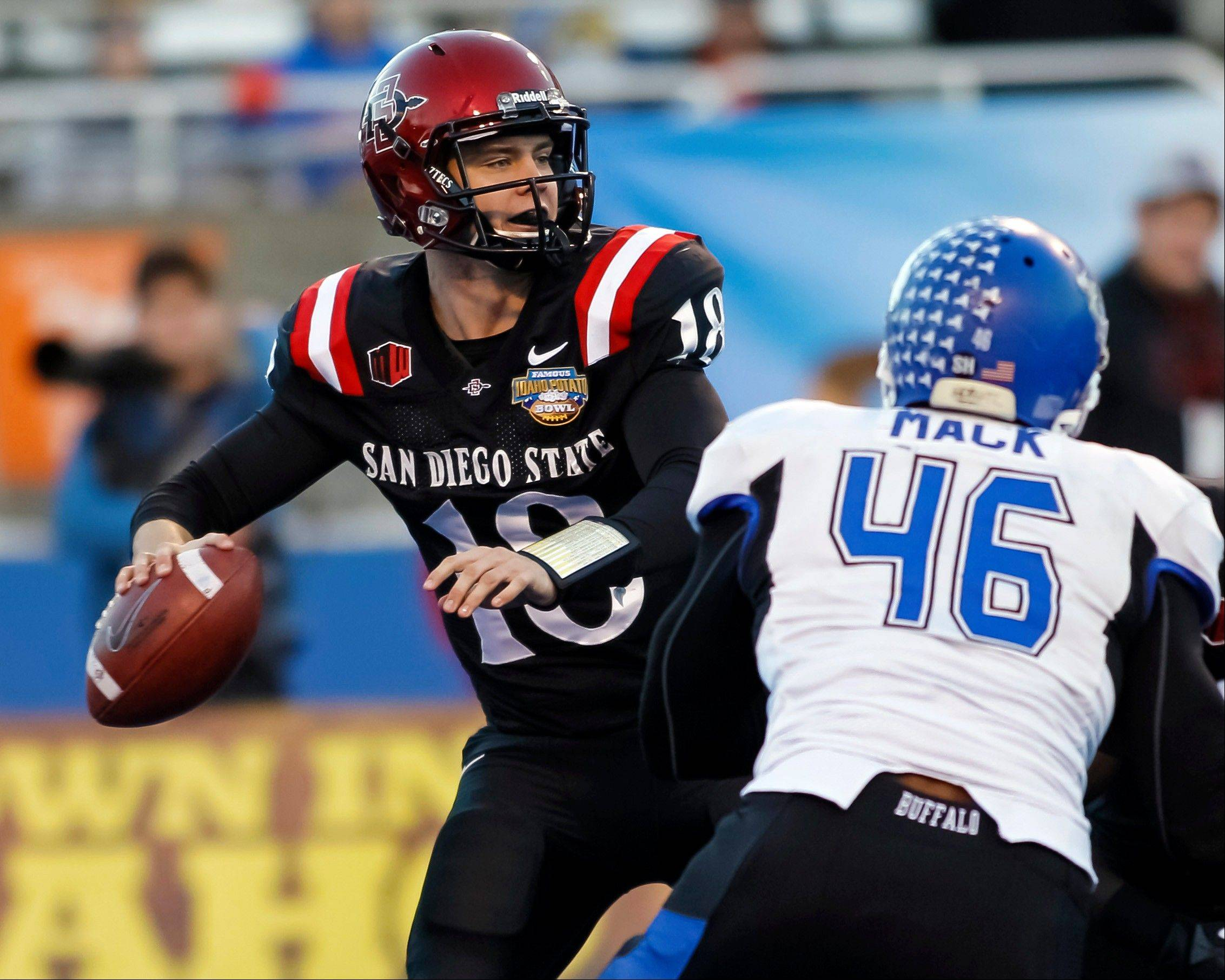 San Diego State quarterback Quinn Kaehler looks for a receiver Saturday during the first half of the Famous Idaho Potato Bowl against Buffalo in Boise, Idaho.