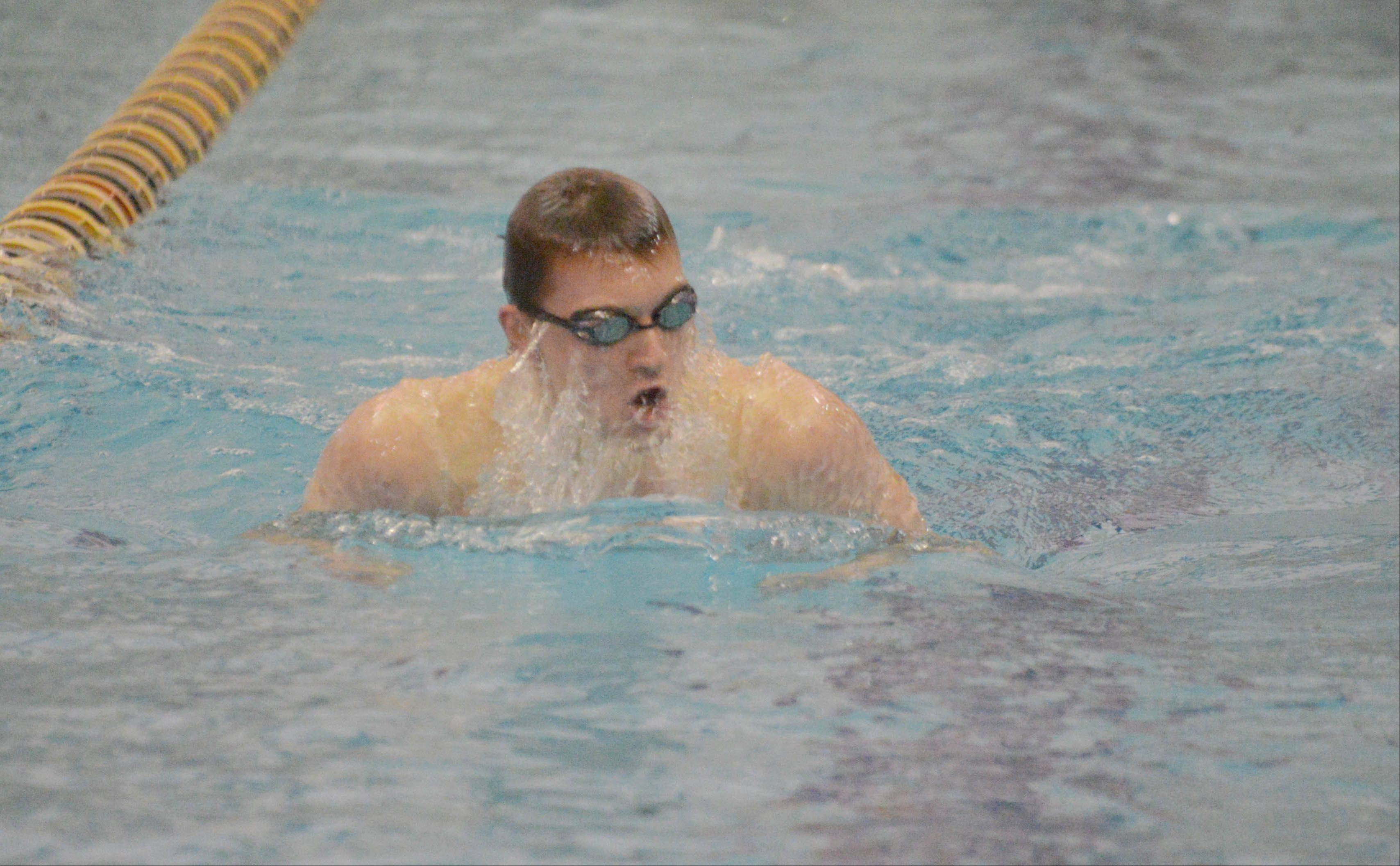 Connor Lamb swims the 200 IM during the Neuqua Valley boys swimming invitational Saturday.