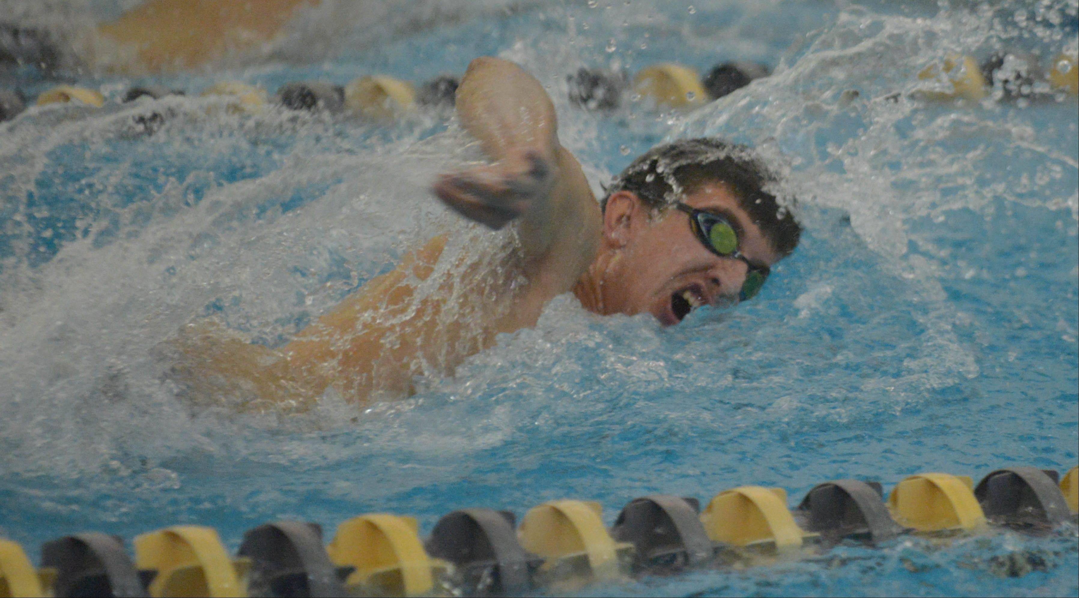 Matthew Ciezczak of Neuqua Valley swims the 200 Free during the Neuqua Valley boys swimming invitational Saturday.
