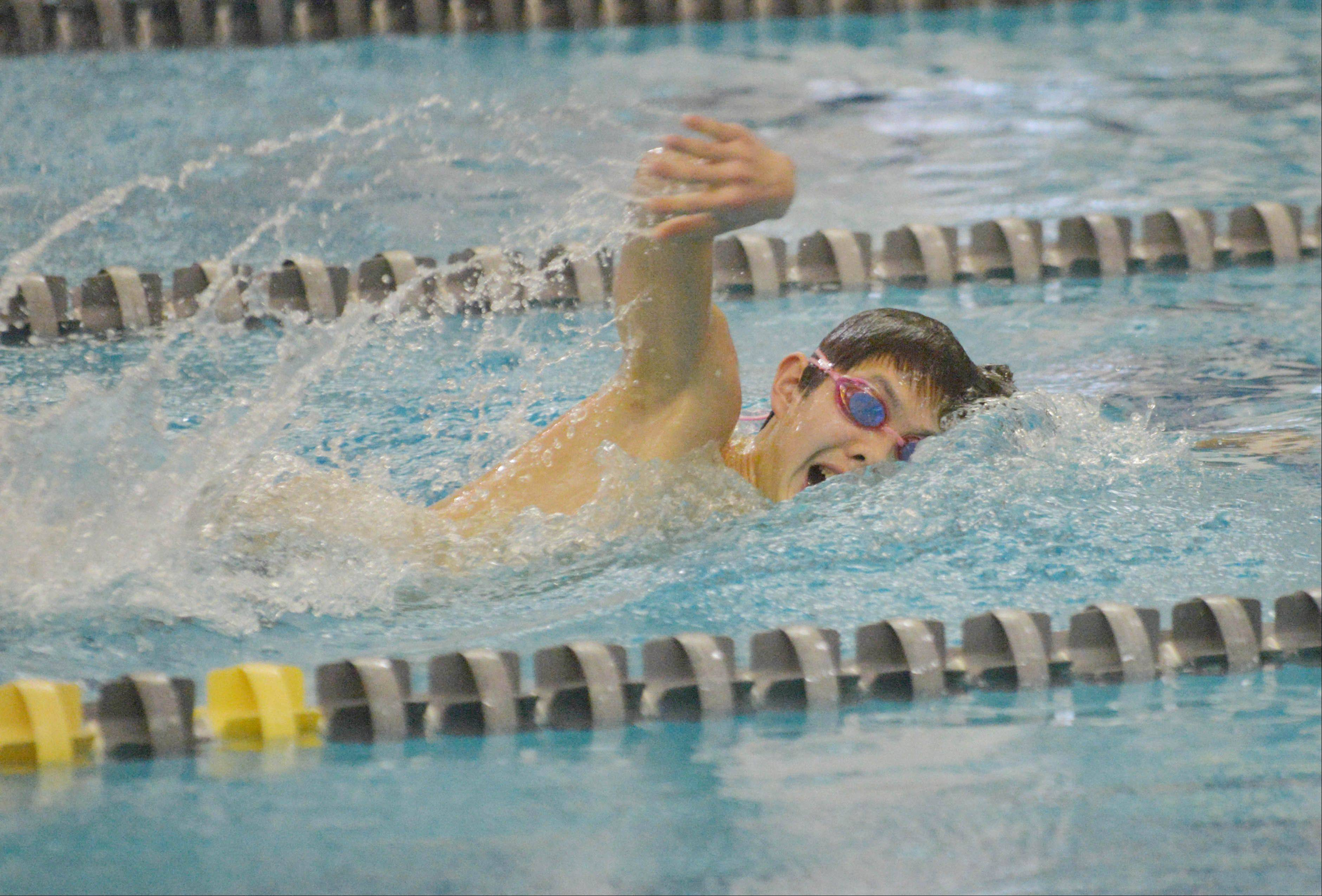 Eric Weng of Waubonsie Valley swims the 200 Free during the Neuqua Valley boys swimming invitational Saturday.