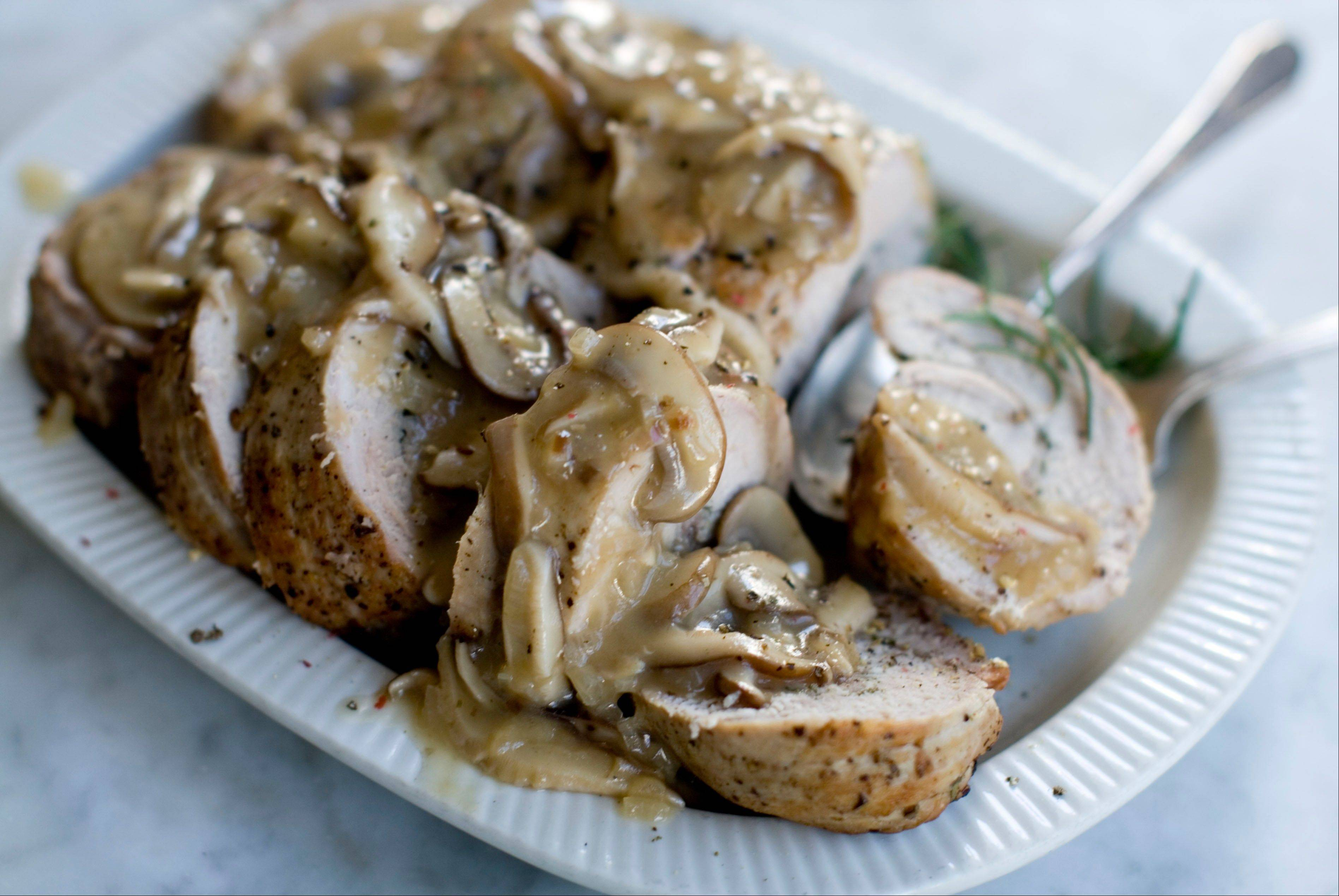 Double Pork Roast with Mushroom Marsala Sauce can be prepped a day in advance allowing time for celebrating, not cooking, when guests arrive.