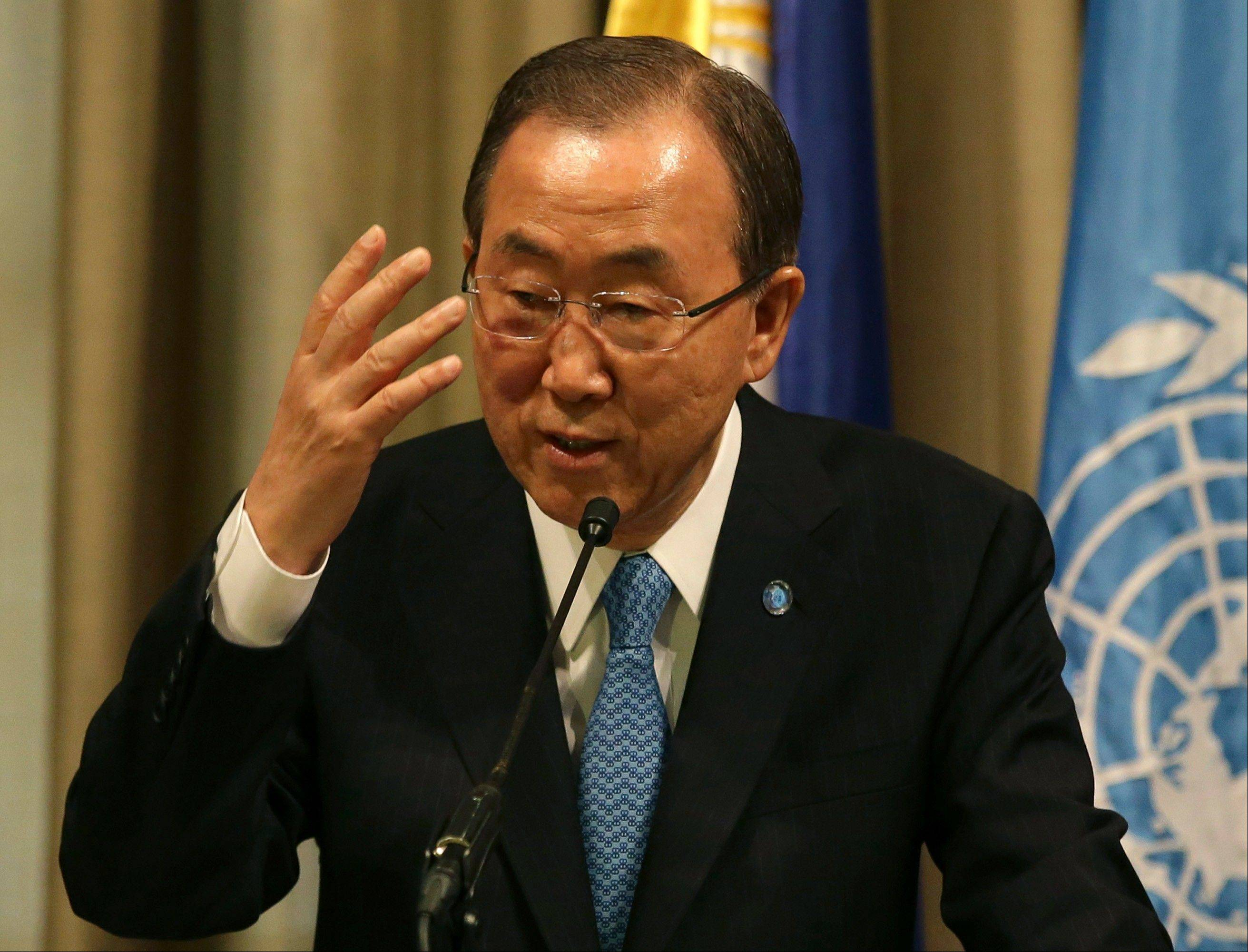 U.N. Secretary-General Ban Ki-moon, at a press conference in Makati, south of Manila, Philippines, Sunday, expressed grave concern about the deteriorating security situation in South Sudan and demanded an end to violence there.