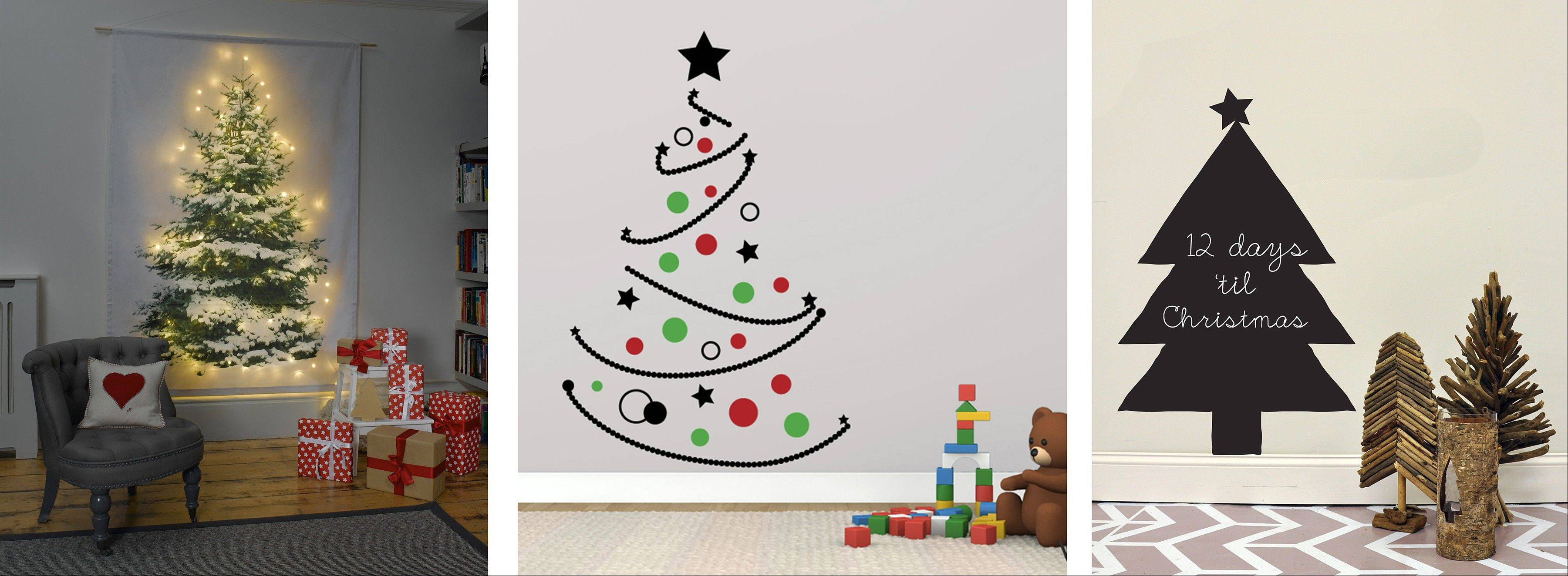 Some alternatives to traditional conifers: from left, Decorate the Tree peel-and-stick wall decals; Christmas Tree Wall Hanging from Betsy Benn Designs; and the Christmas Tree Chalkboard.