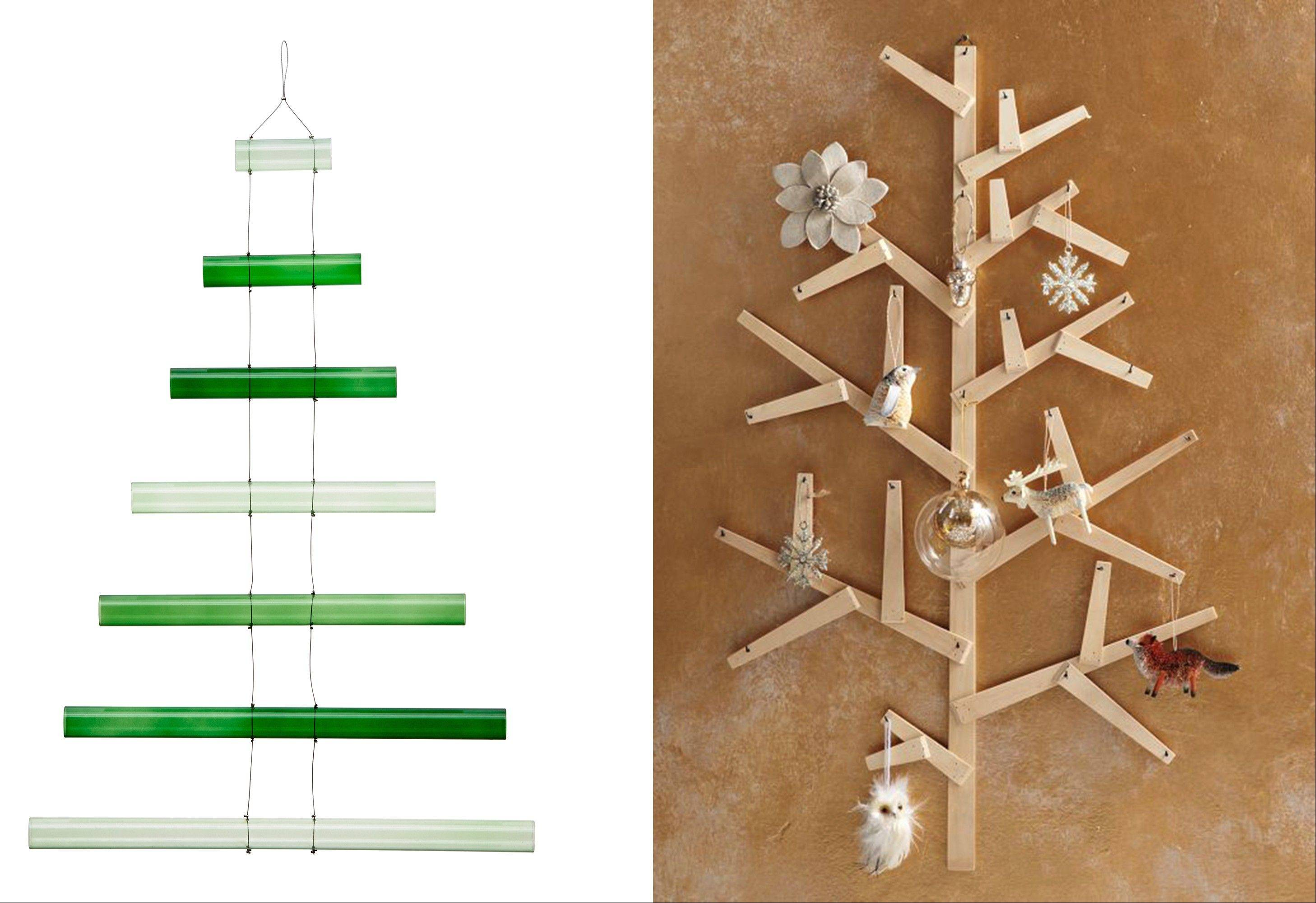 Who says Christmas trees have to be trees? There are alternatives, such as the Glass Rod Tree from CB2, left, and the Wooden Wall Tree from West Elm, which is infinitely personalizable.
