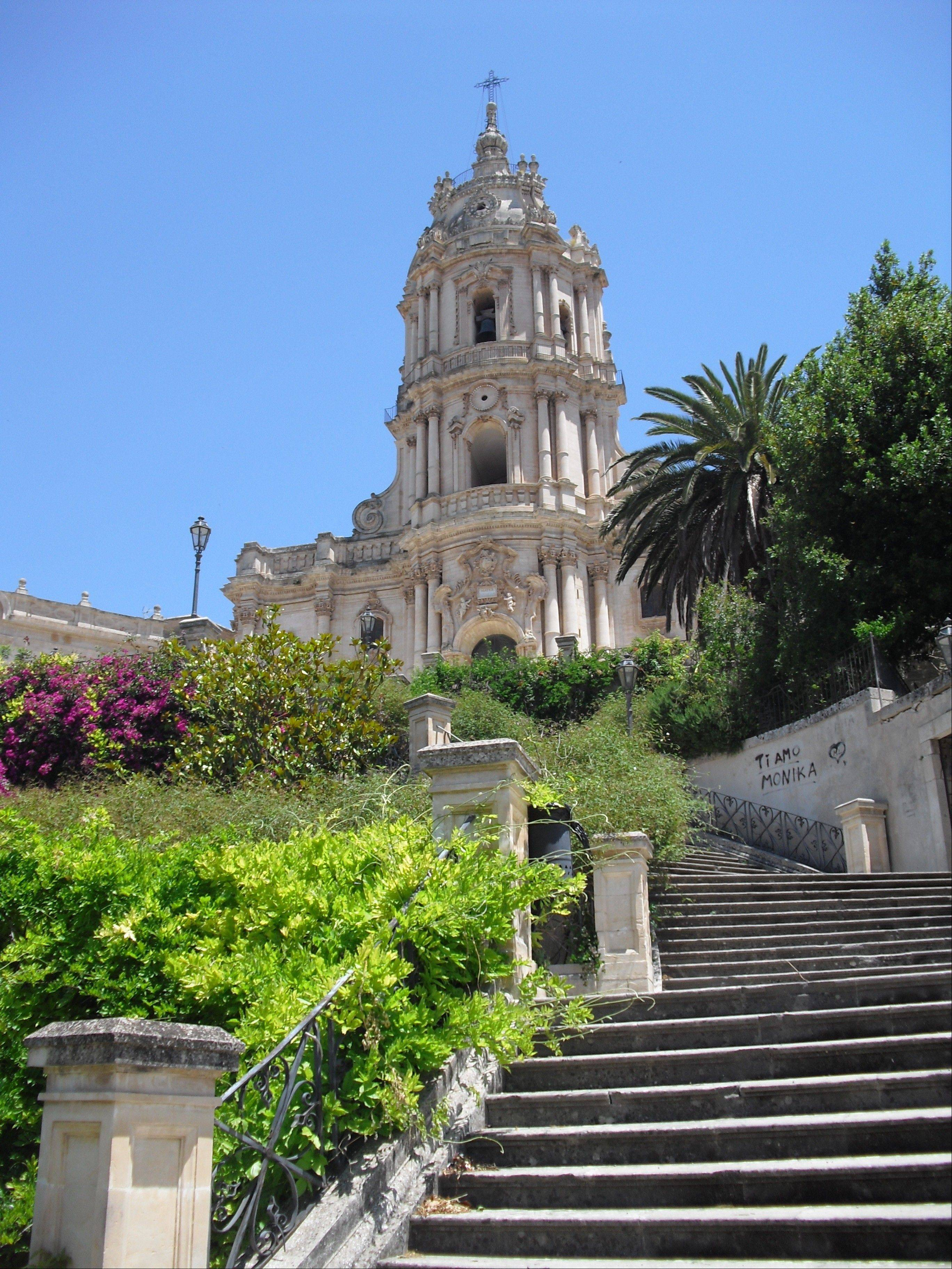 Stairs lead to the Chiesa di San Giorgio in the city of Modica in Sicily.