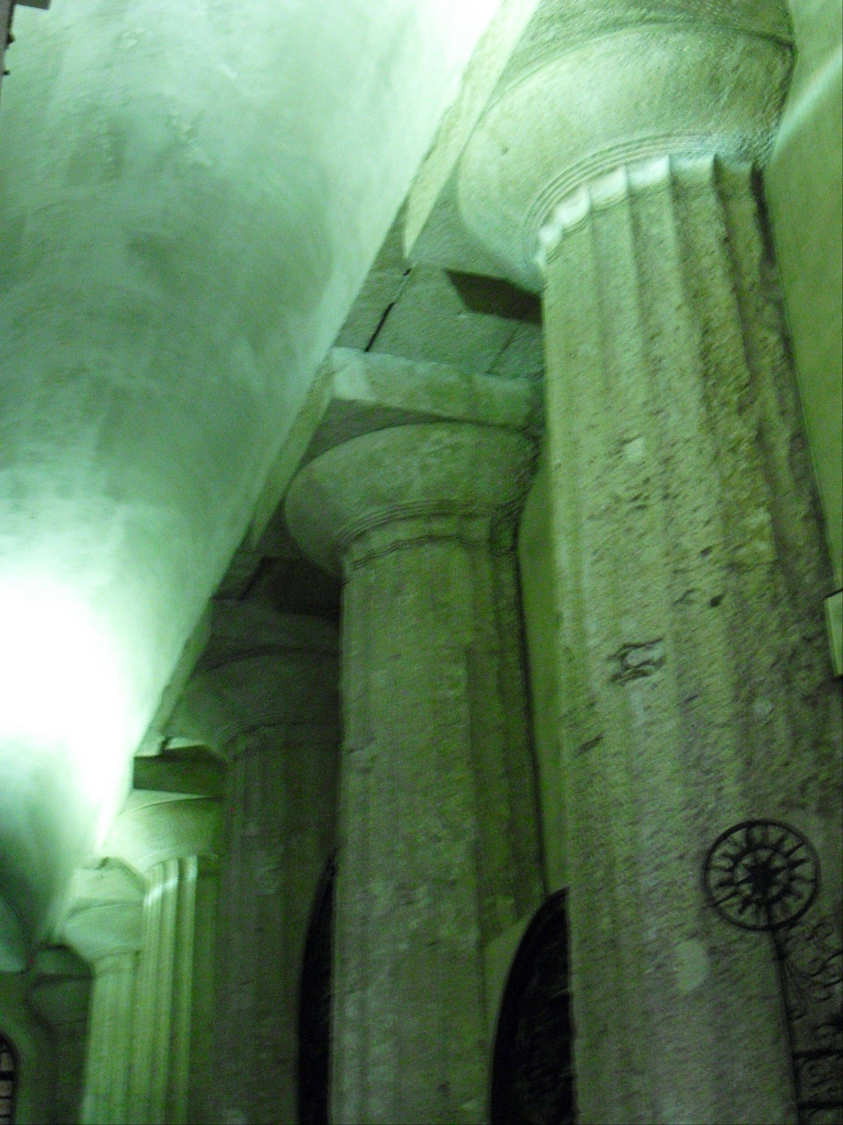 Doric columns can be seen in the interior of the Catholic cathedral in the Piazza del Duomo on the Sicilian island of Ortygia.