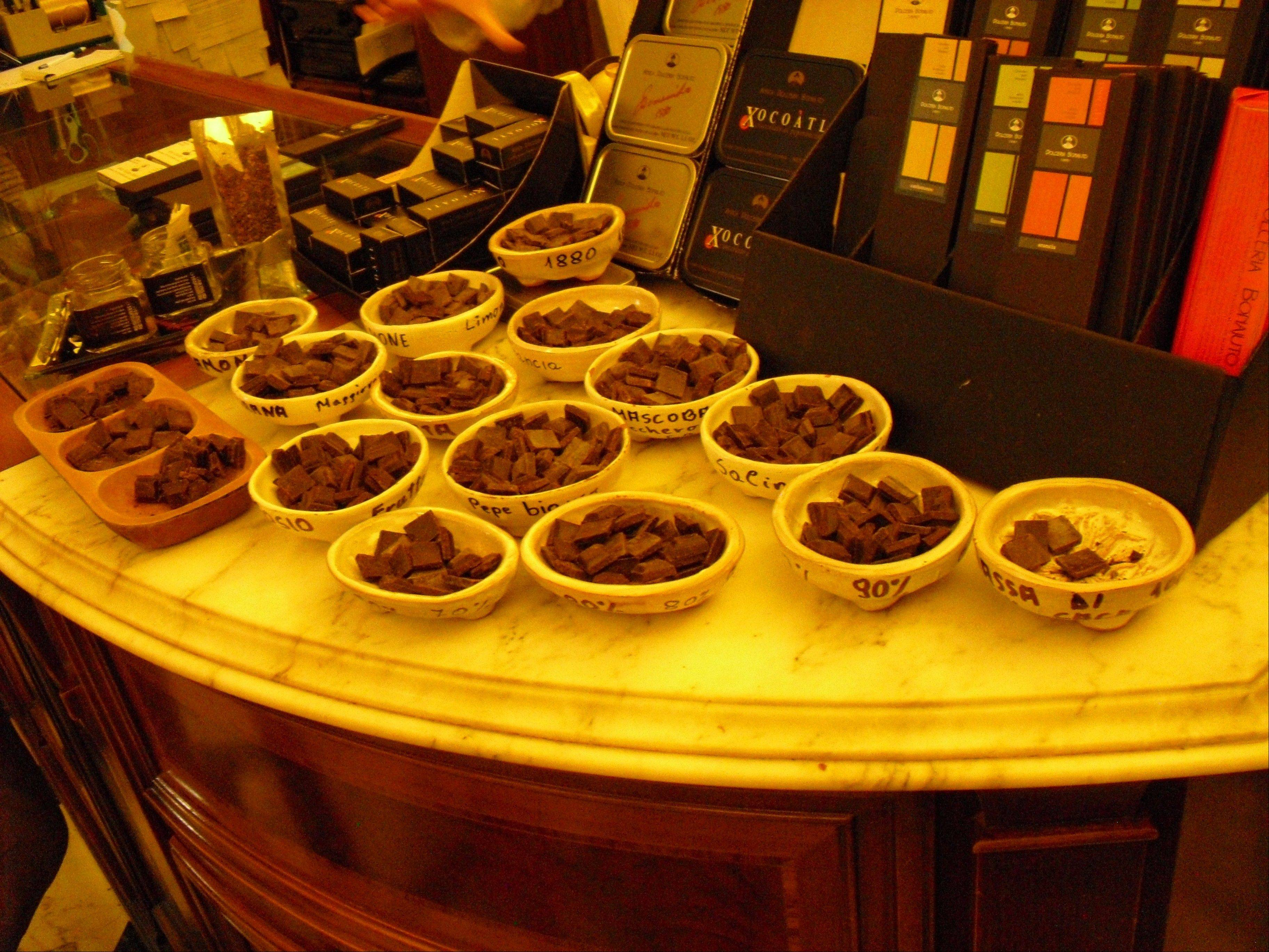 Antica Dolceria Bonajuto offers up free samples of its different types of chocolates in Modica. The famed Sicilian confectioner makes chocolate according to recipes and methods dating back to the Aztecs.