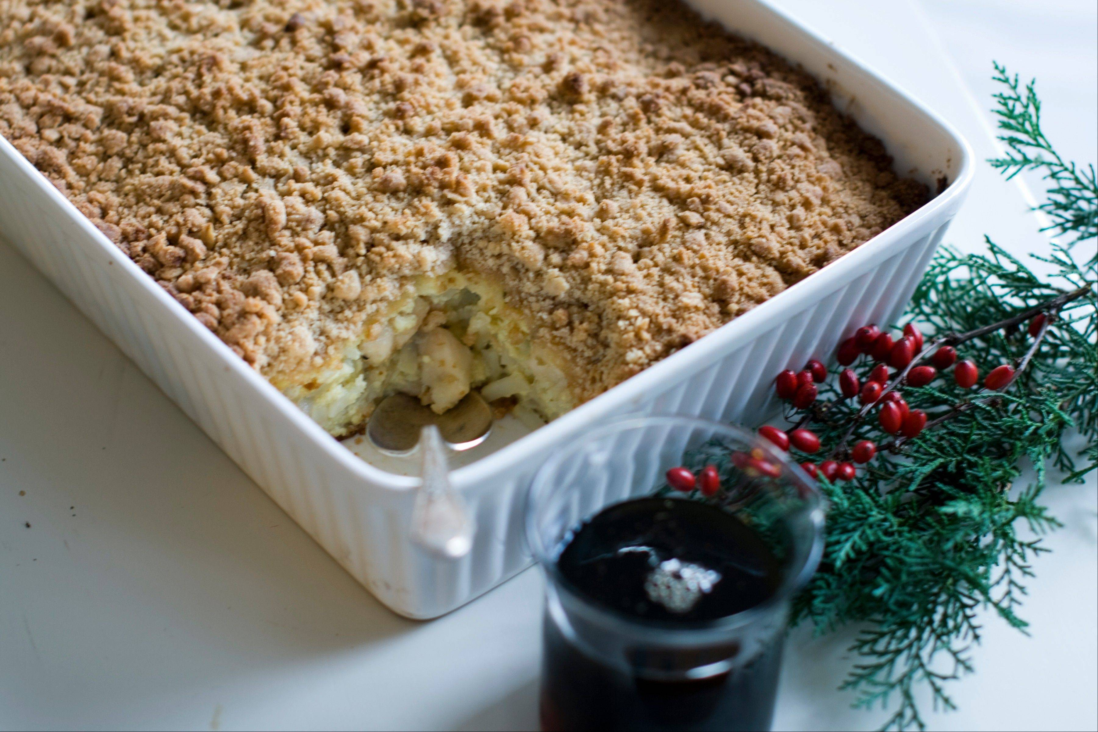 Apples, cheese and potatoes come together for a Christmas morning casserole.
