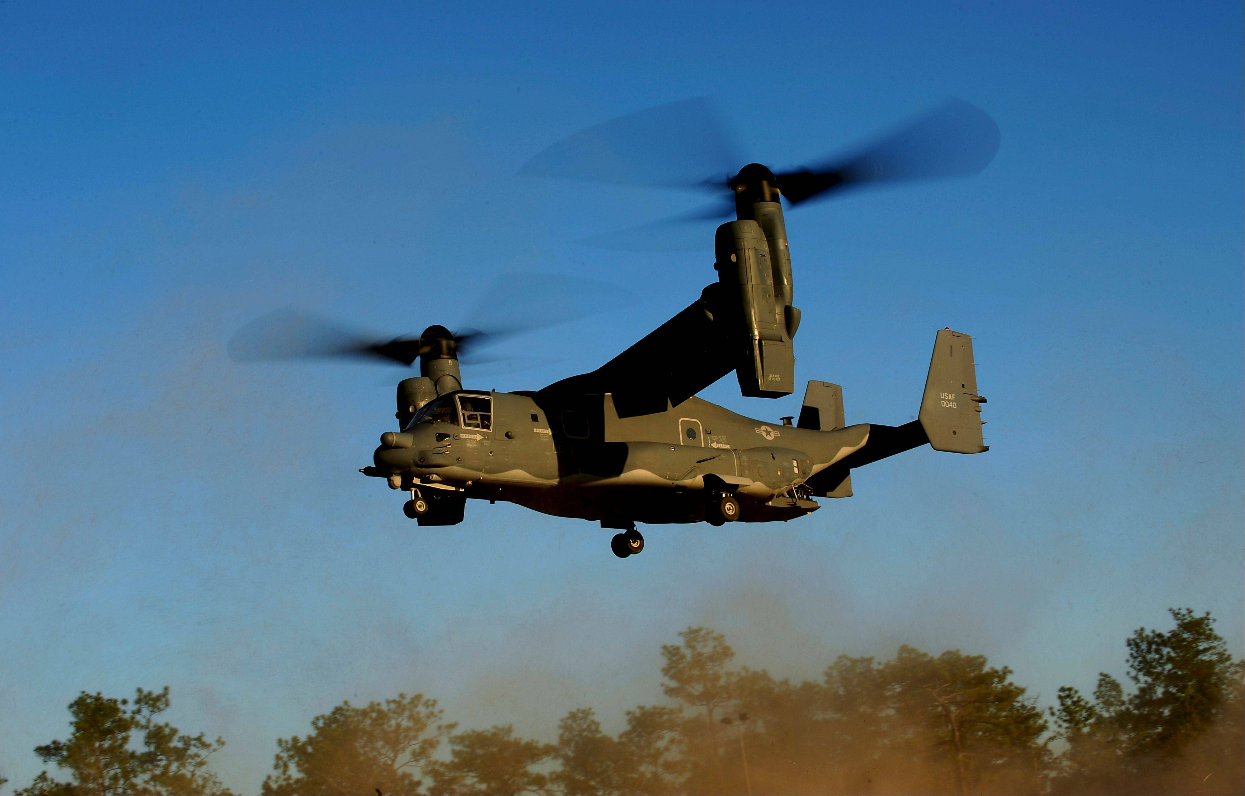 "A CV-22 Osprey aircraft of the 8th Special Operations Squadron (SOS) ""Black Birds"" comes in for a landing during a training mission at Hurlburt Field, Fla."