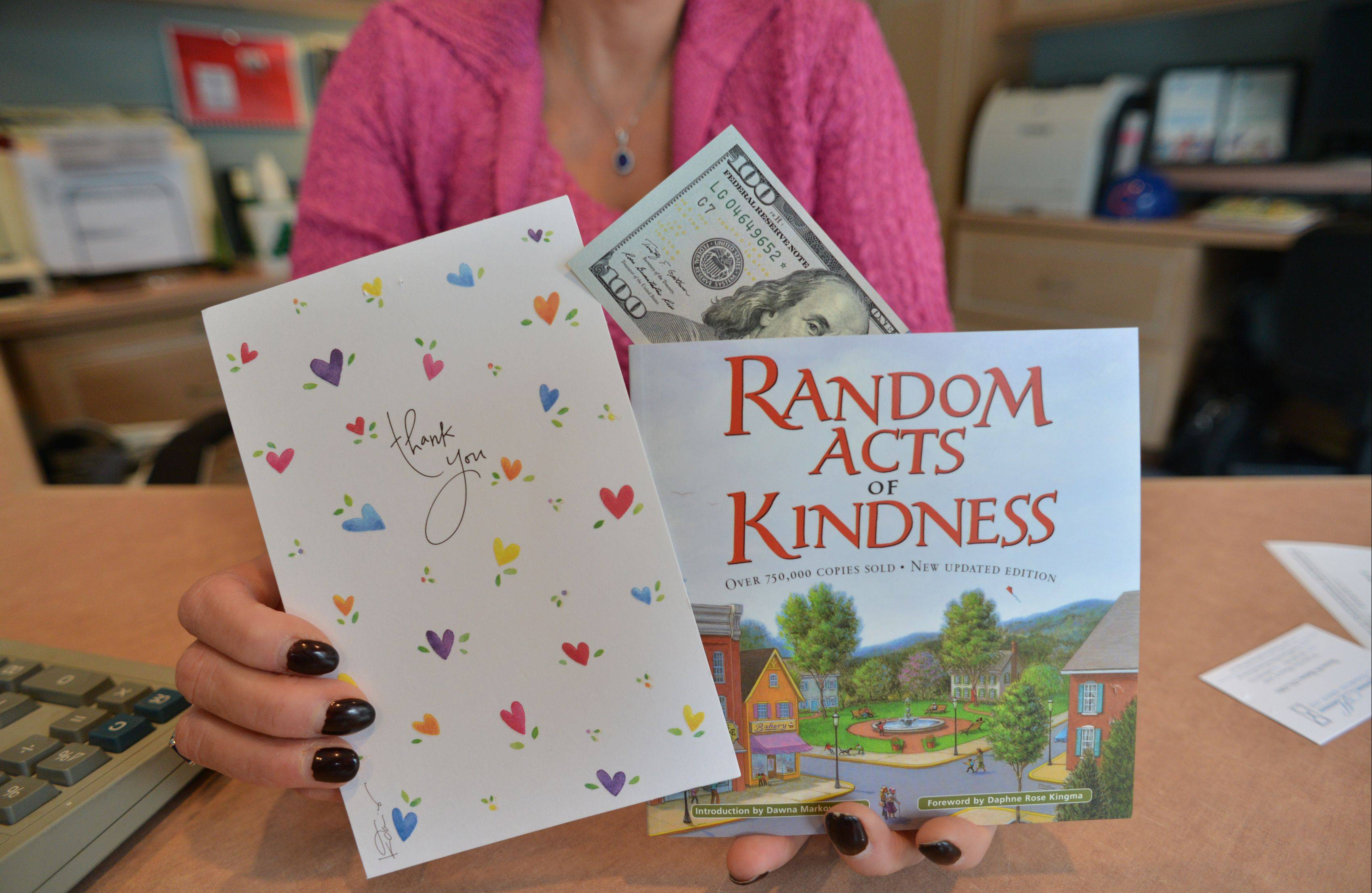 "In her annual message to 90 clients, financial planner Theresa Hannon included a copy of the book ""Random Acts of Kindness,"" a $100 bill and a request to ""help someone who is less fortunate."""