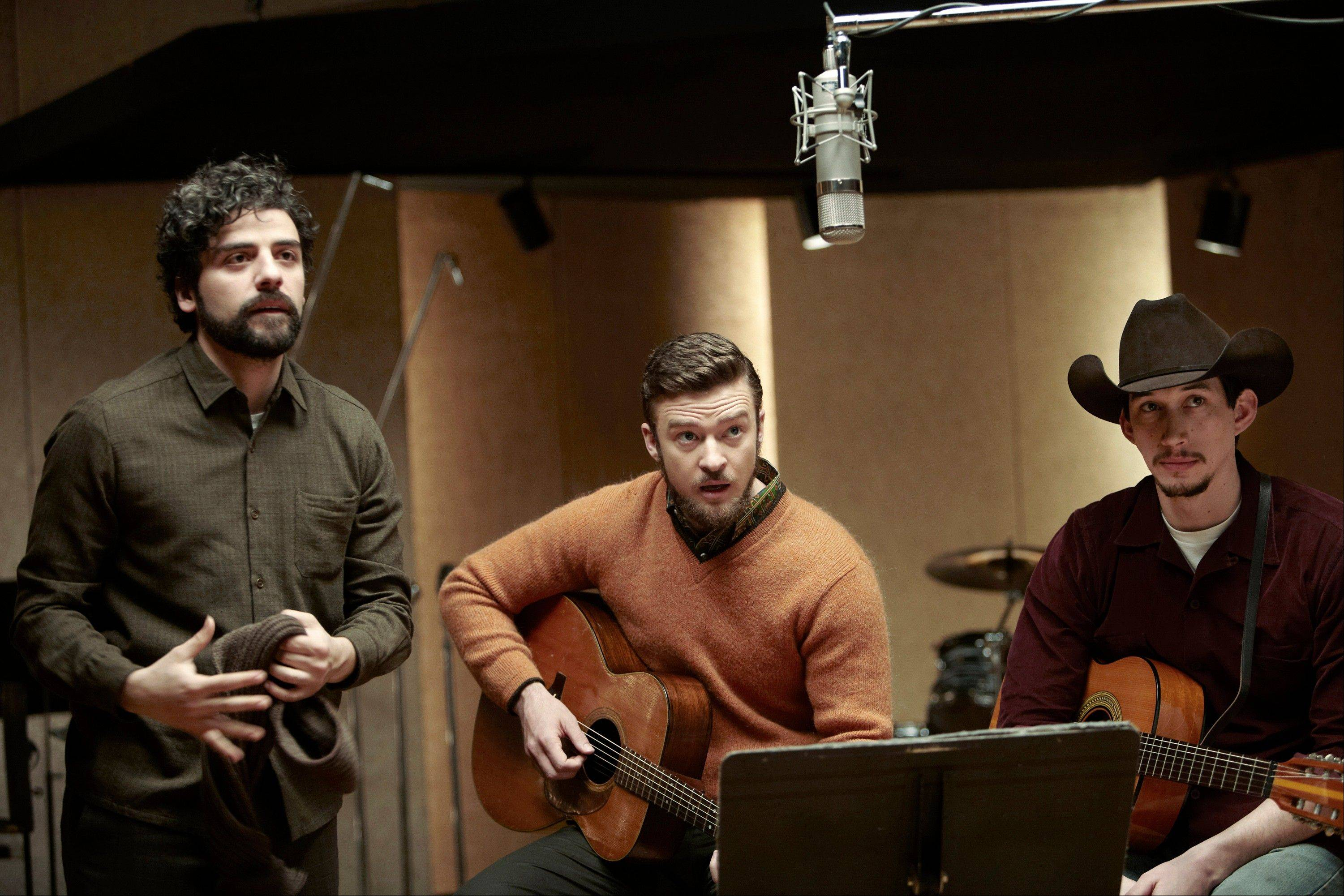 Oscar Isaac, left, Justin Timberlake and Adam Driver star in �Inside Llewyn Davis.� In the Coen brothers film, Timberlake plays a supporting role as a cheery, sweater-wearing 1960s folk musician. But he also collaborated with producer T Bone Burnett on the movie�s memorable period songs and helped shape the film�s most unforgettable and comic tune, �Please Mr. Kennedy.�