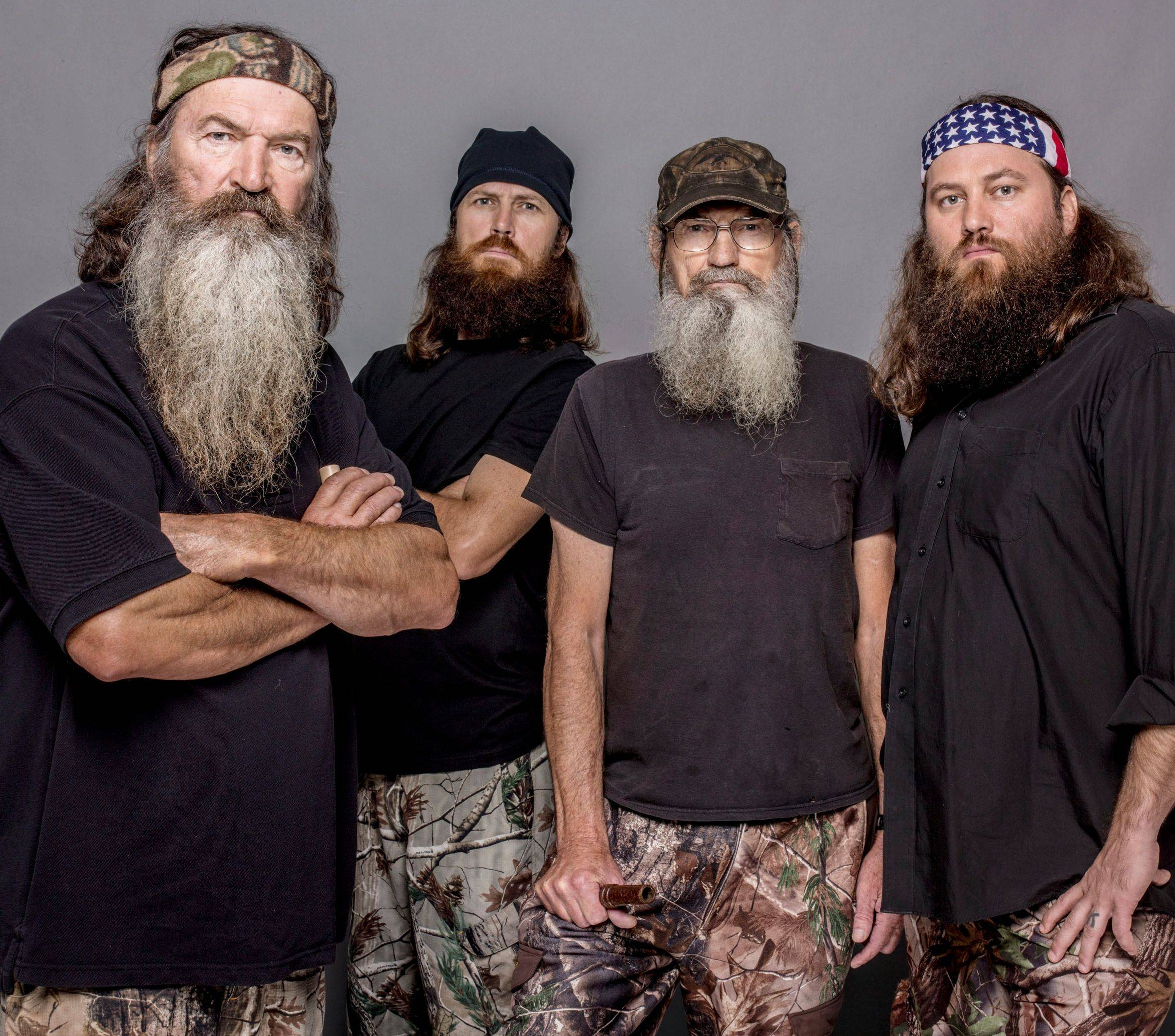 "The Robertsons, from left, Phil, Jase, Si and Willie, were seen on the A&E channel's ""Duck Dynasty"" until patriarch Phil Robertson's comments appeared in GQ magazine."