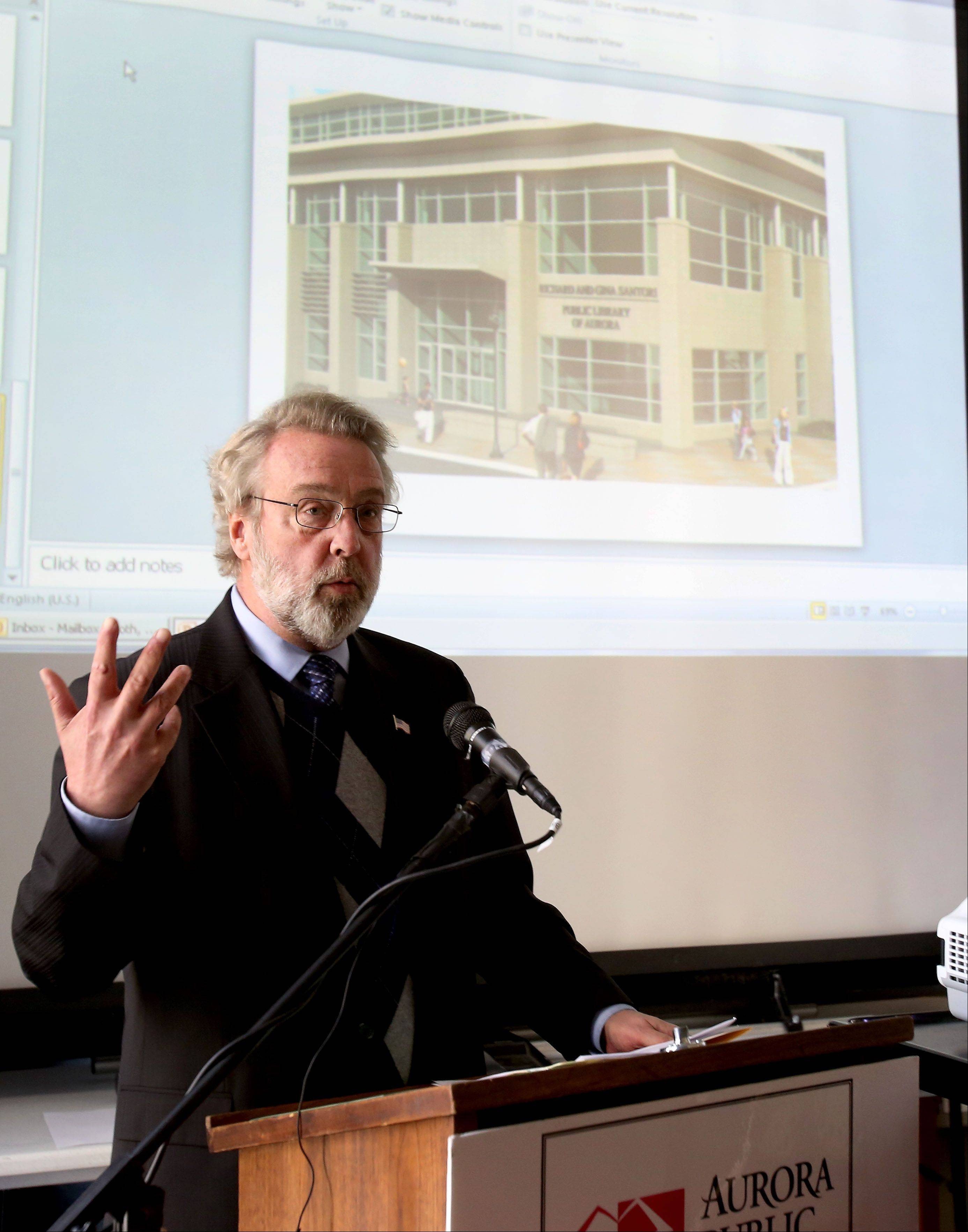 Aurora Mayor Tom Weisner speaks about the $3 million donation from the Richard and Gina Santori Charitable Foundation to the Aurora Public Library Foundation.