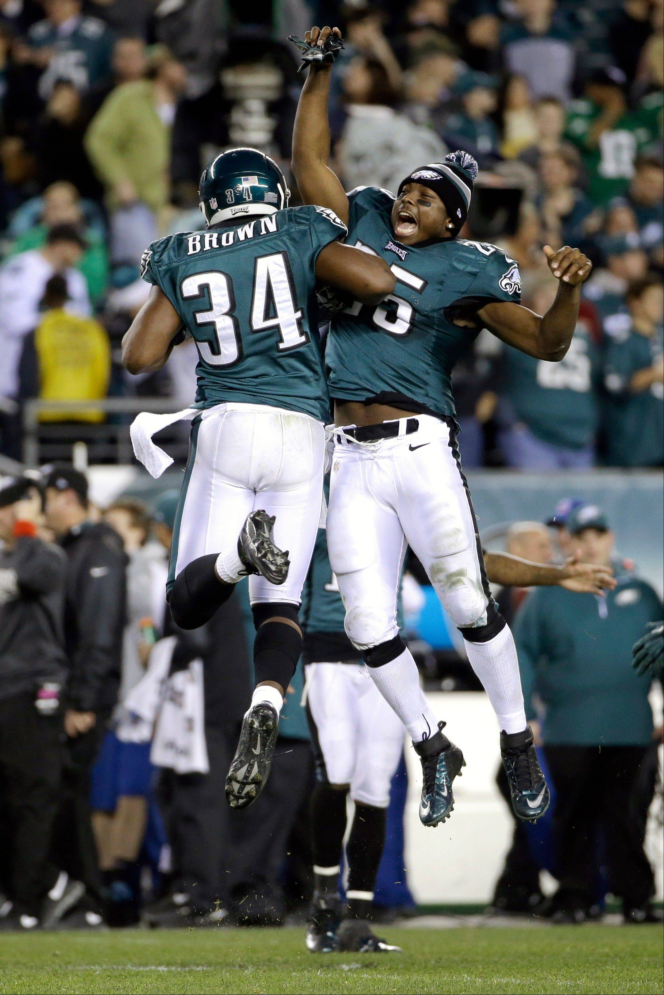 The Eagles' Bryce Brown and LeSean McCoy had plenty to celebrate during Sunday night's rout of the Bears: McCoy (133) and Brown (115) combined for 248 of Philadelphia's 289 rushing yards.