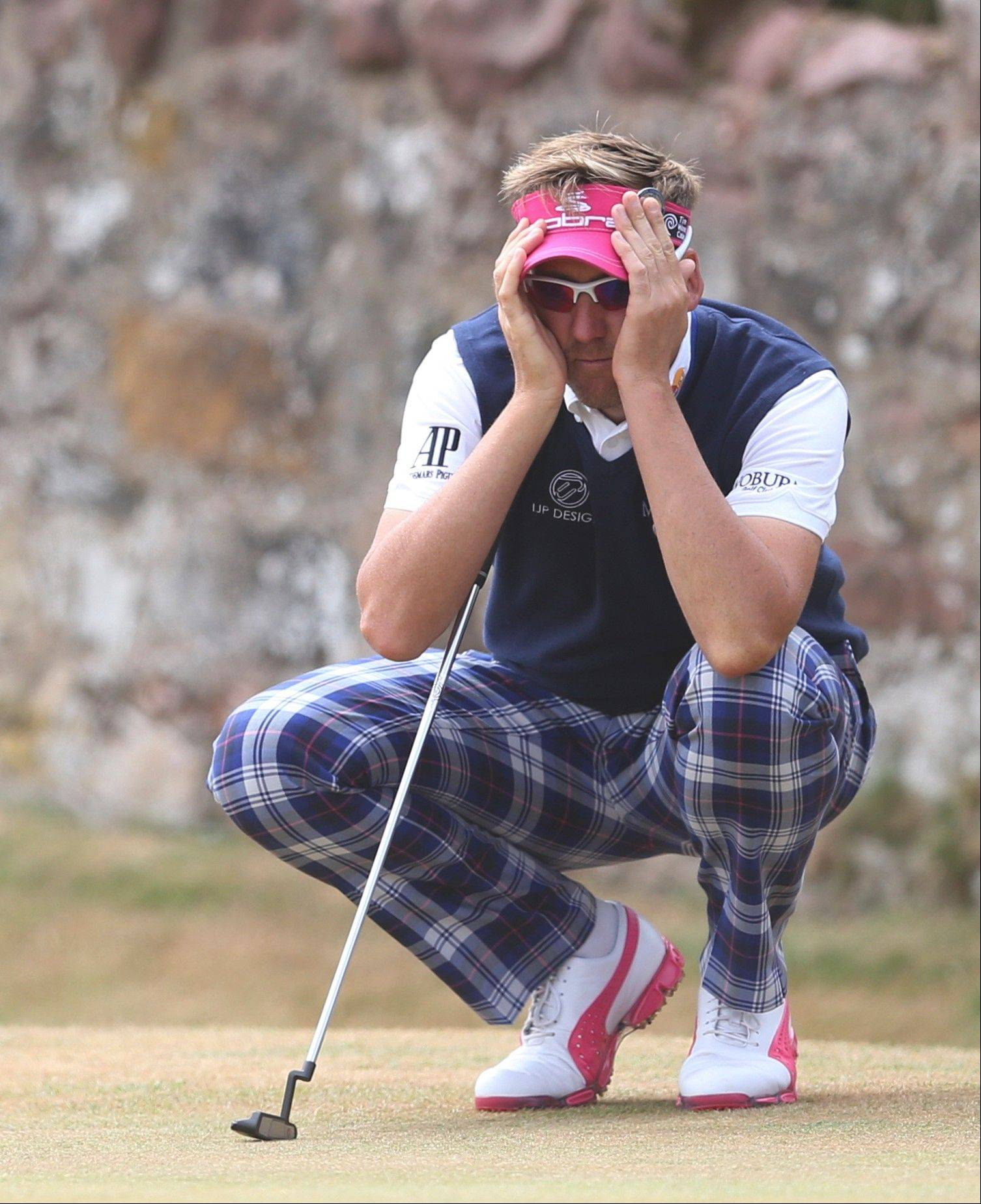 Ian Poulter of England make look perplexed here during the the final round of the British Open Championship at Muirfield, Scotland, but he finished in a tie for third. He also scored big with two quotes in Bob Frisk's annual sports quotes column.