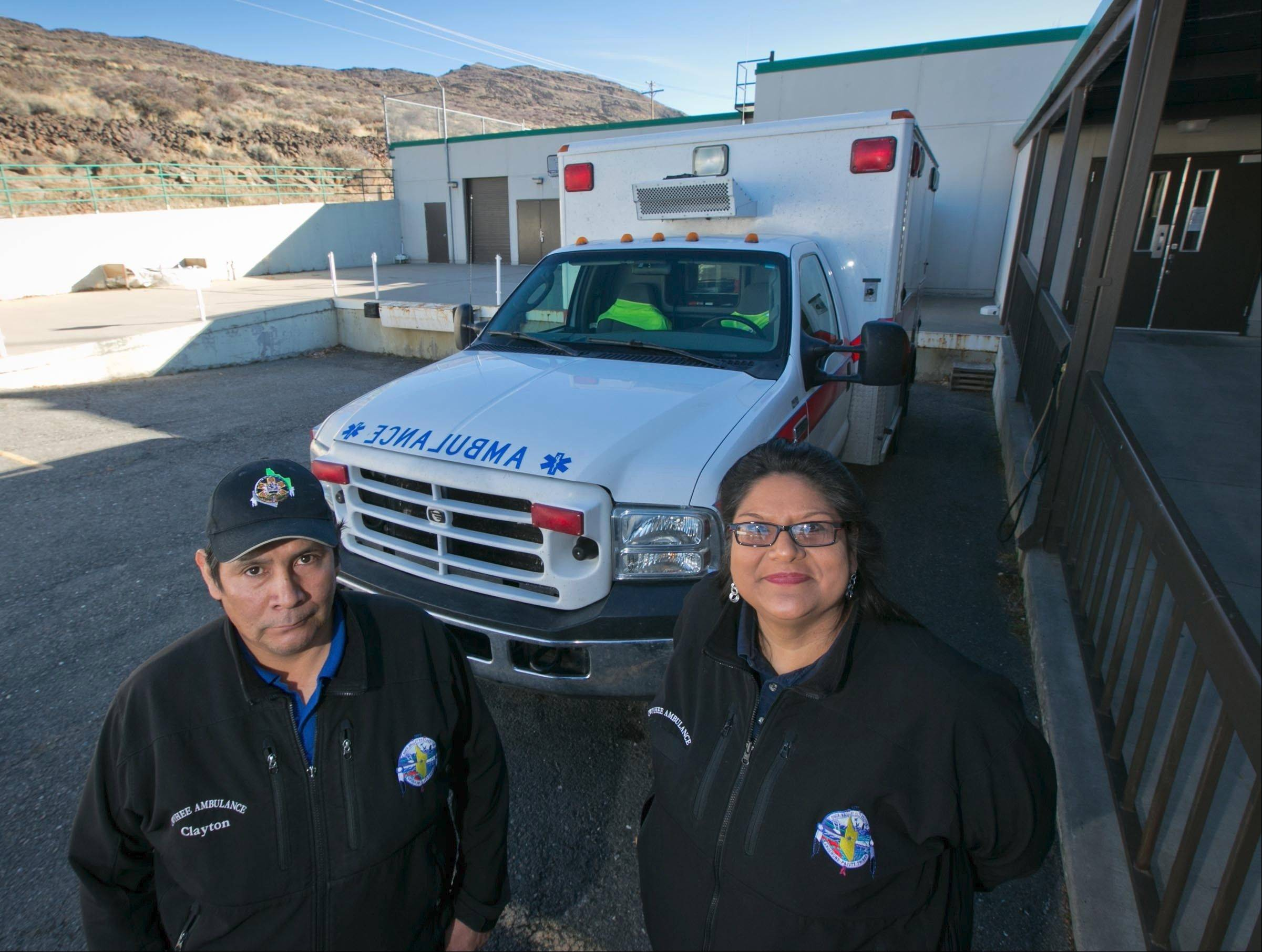 Clayton Thomas, left, and Andrea Astarloa, EMTs at the Duck Valley Indian Reservation in Owyhee, Nev. The tribes who live at Duck Valley are part of hundreds of tribes owed an estimated $2 billion by the federal government for contract support costs. Despite two U.S. Supreme Court rulings in the tribes' favor, government officials have settled less than one percent of the claims.