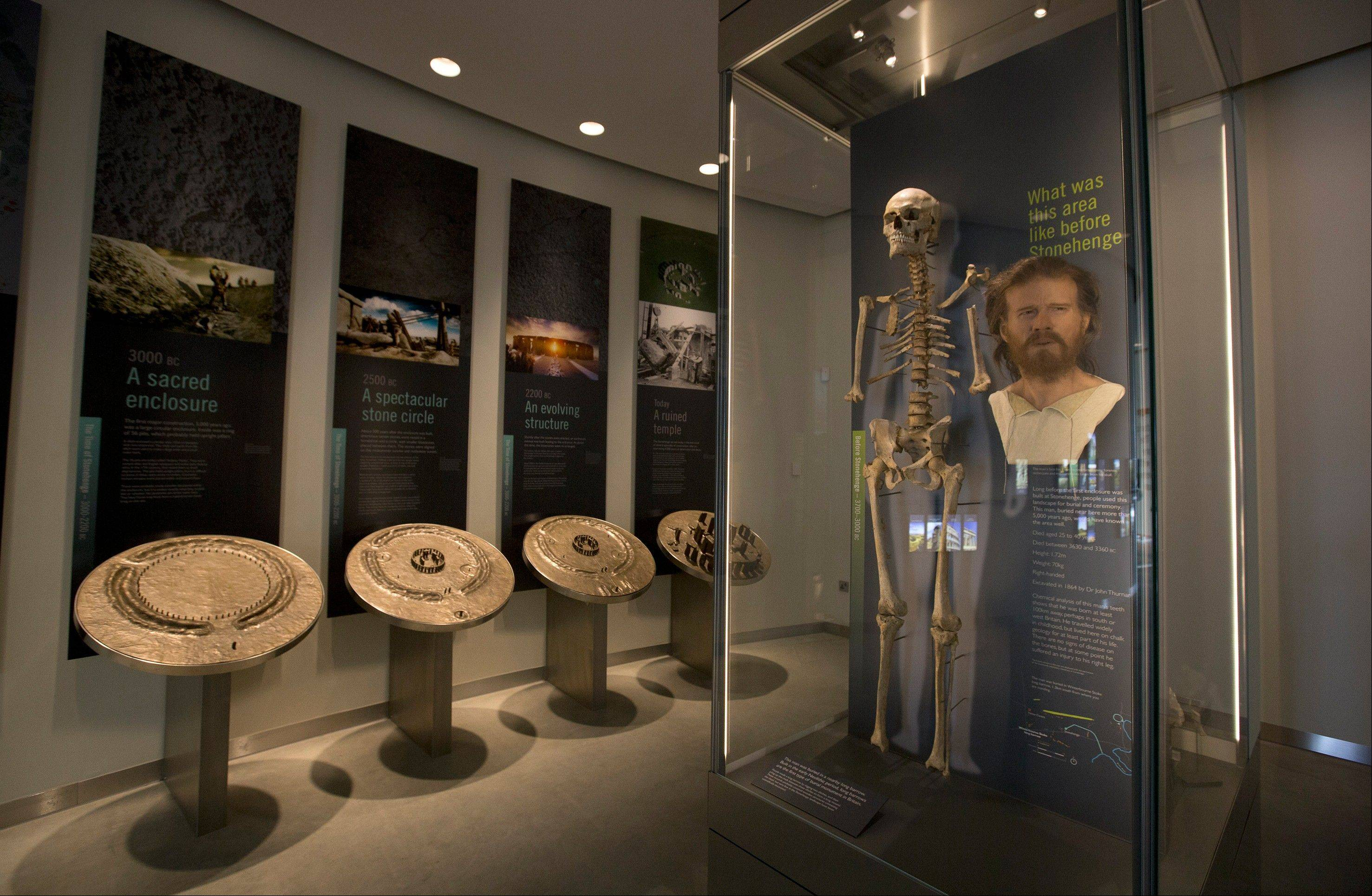 A forensic facial reconstruction taken from the skeleton of a man who is believed to have lived at the Stonehenge site at around 3630 BC is on display at the new visitor center at Stonehenge.