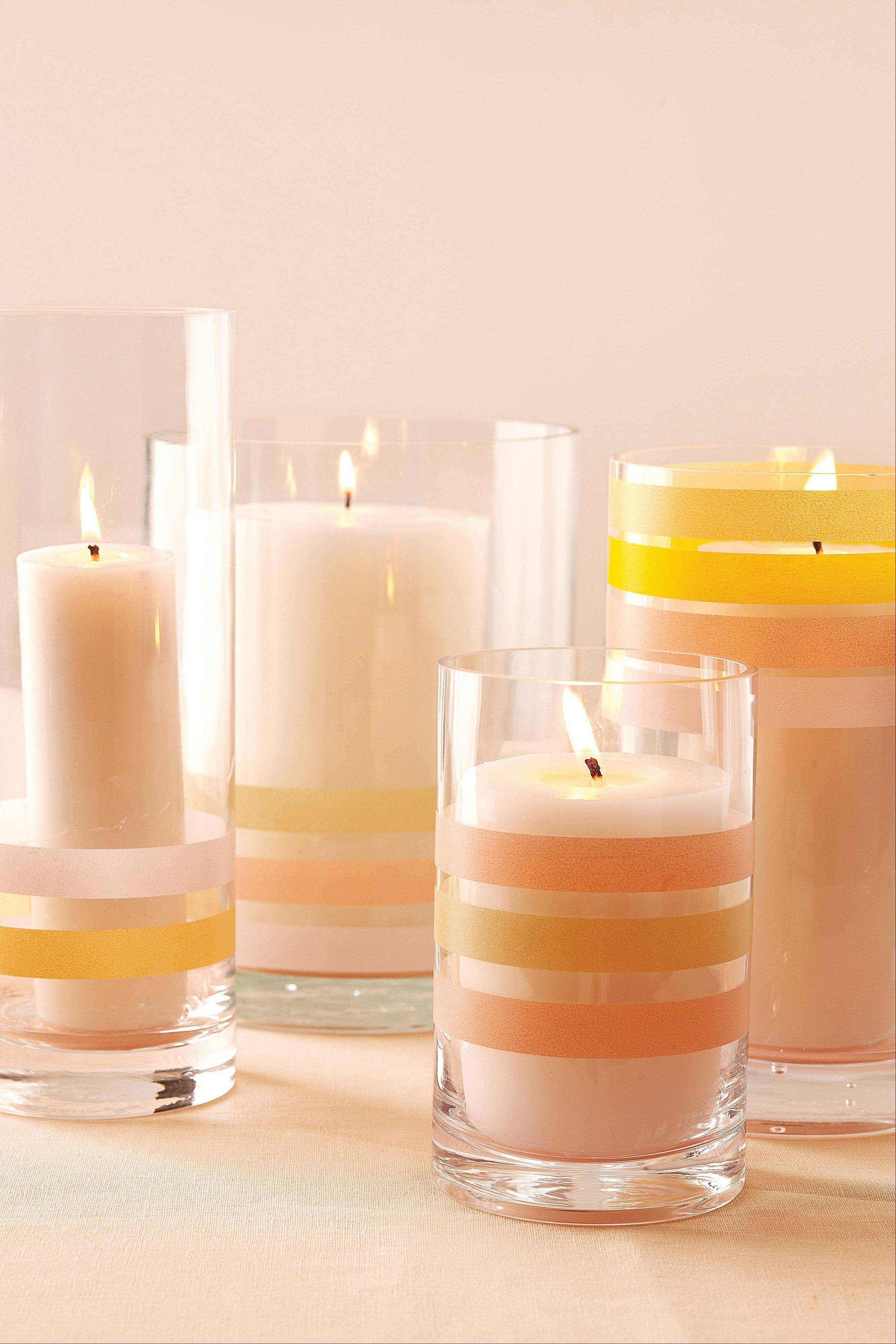 A quick and easy decorating idea is to encircle simple votive candles with coordinating washi colors.