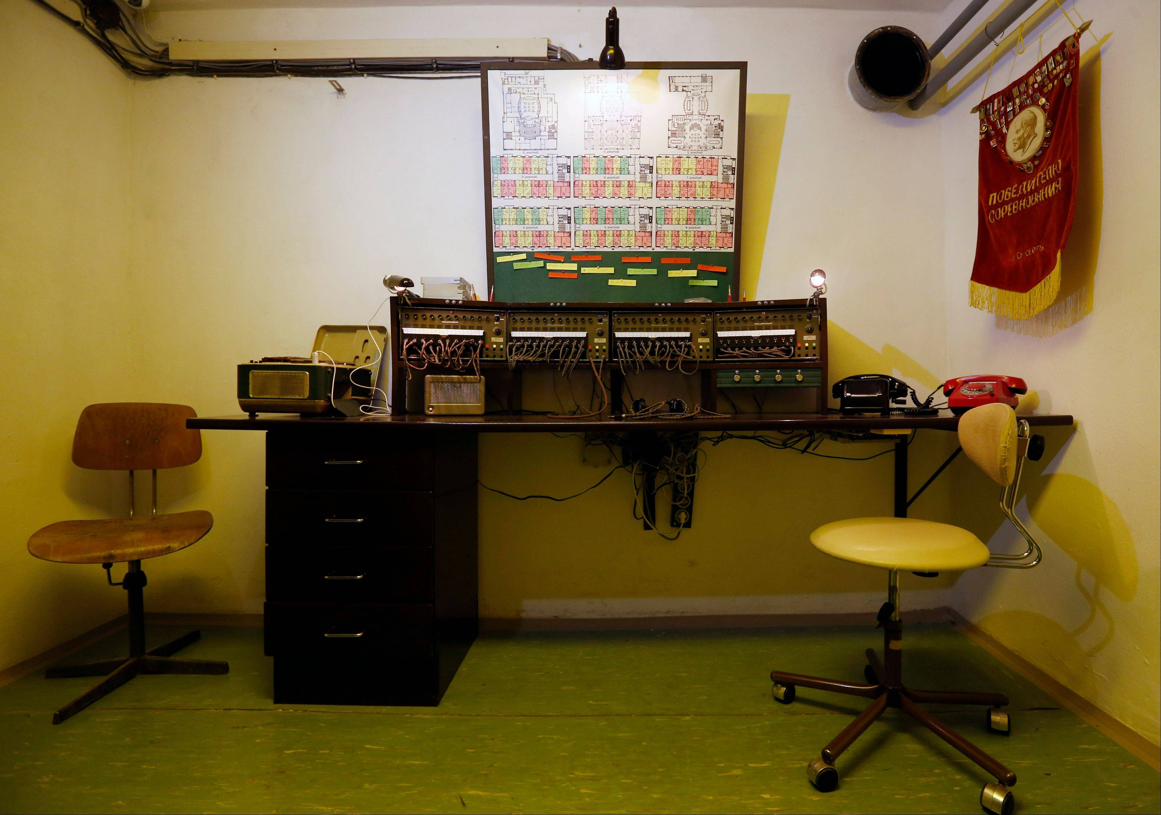 An eavesdropping station is part of an installation at the nuclear shelter from Cold War era at five star Jalta Hotel in downtown Prague, Czech Republic.