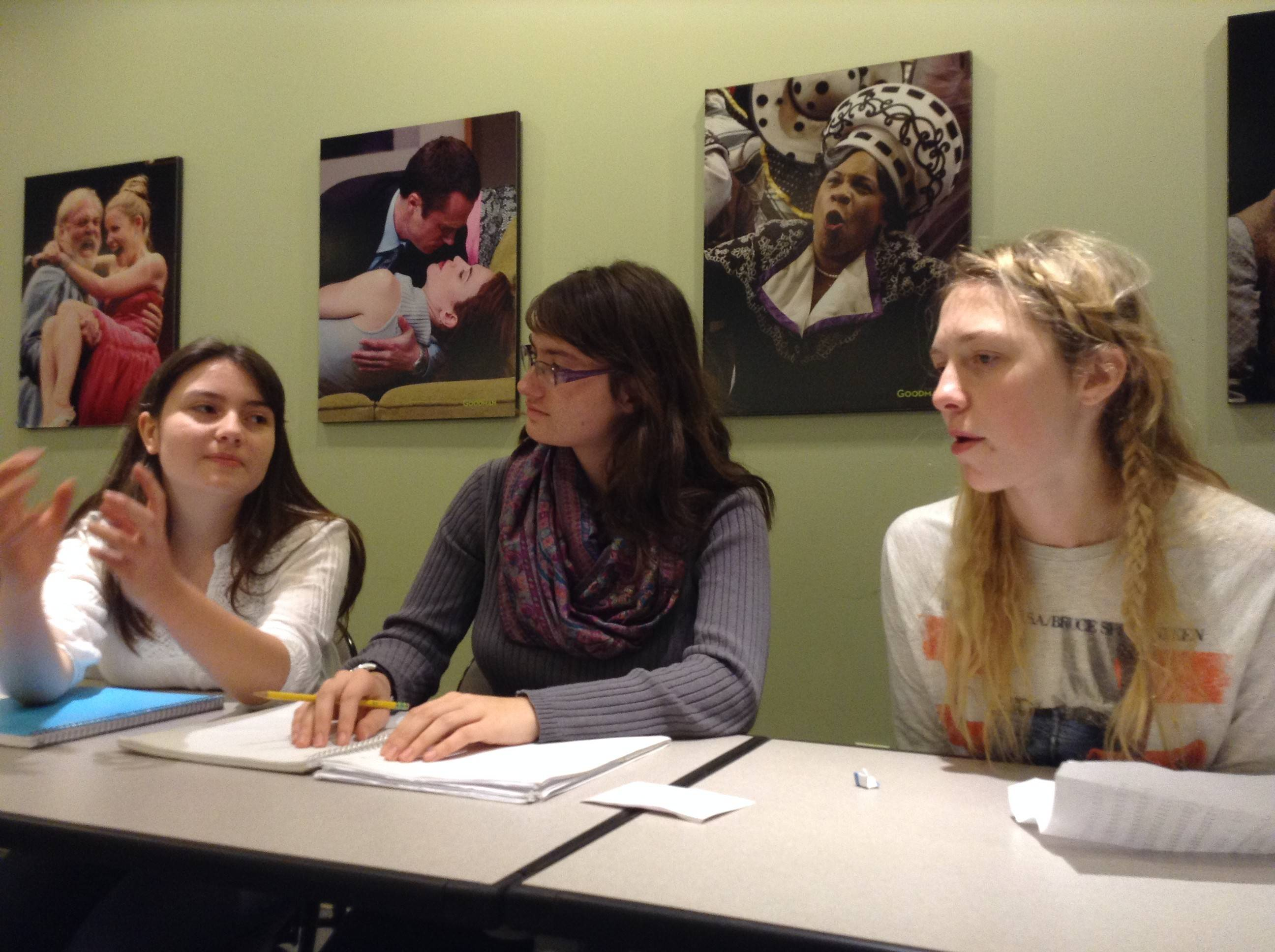 At a recent meeting of the Cindy Bandle Young Critics at Goodman Theatre, suburban high school students Nina Wilson, left, Ariel Majewski, center and Maya St. Clair discuss colorblind casting.