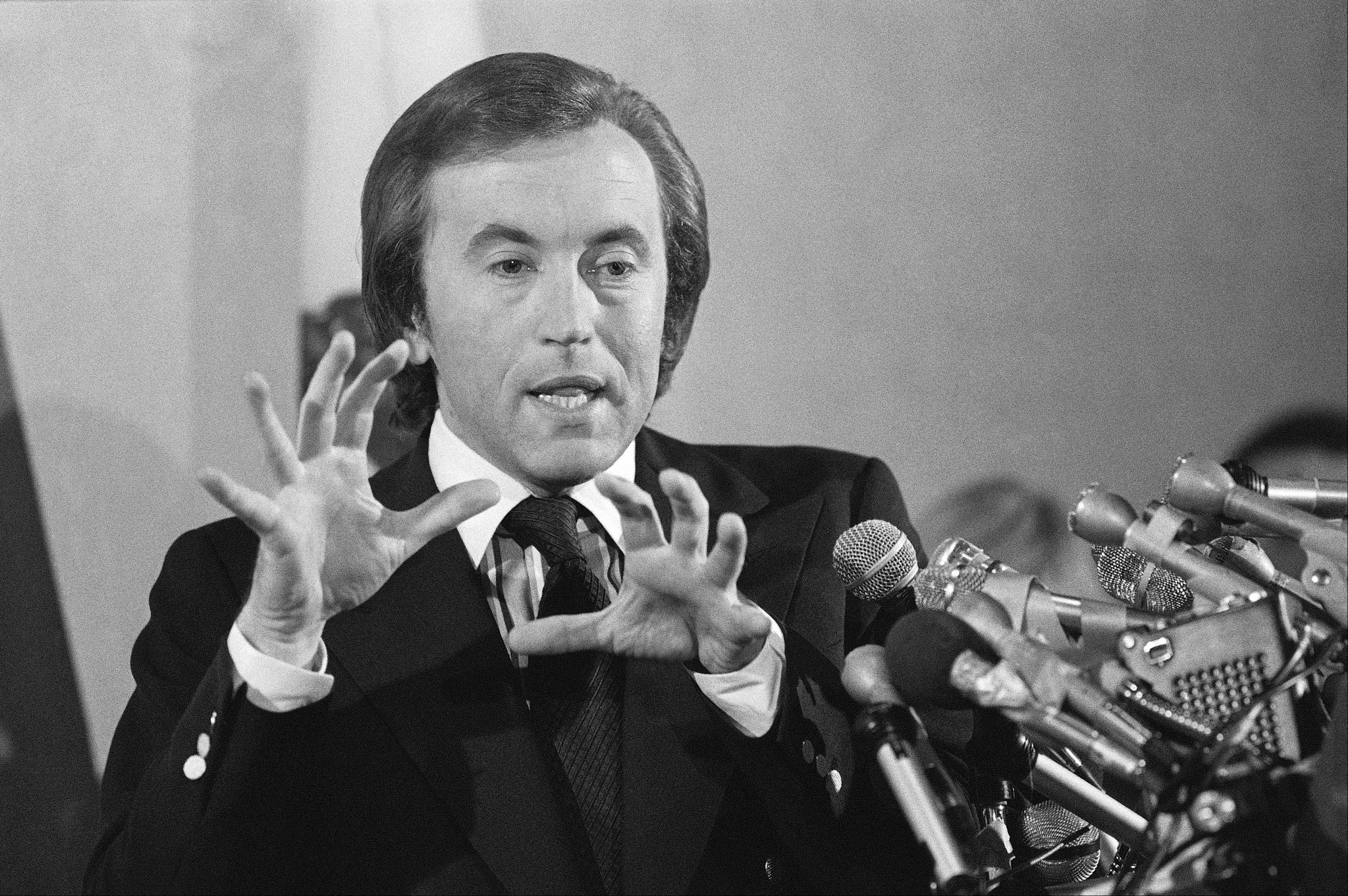 In this May 5, 1977 file photo, David Frost speaks at a news conference about the telecast of the Nixon-Frost interview in Beverly Hills, Calif. Frost, a veteran broadcaster who won fame around the world for his interview with former President Richard Nixon, died Aug. 31, 2013. He was 74.