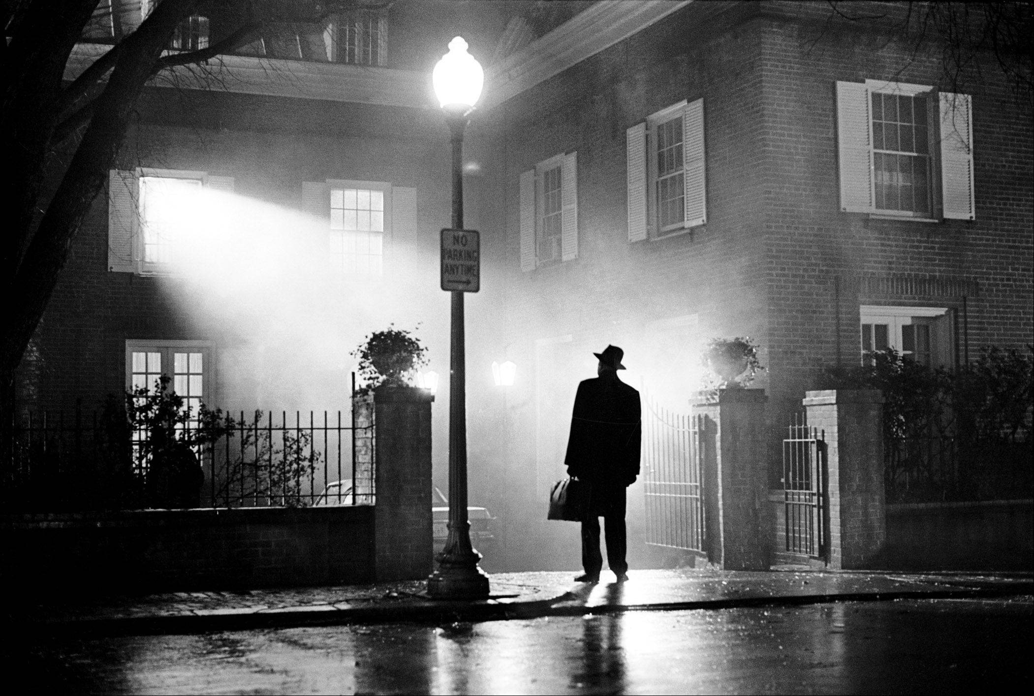 "Max Von Sydow as Father Merrin poses in the iconic scene from William Friedkin's ""The Exorcist,"" inspired by ""Citizen Kane"" cinematographer Gregg Toland, a native of Charleston, Ill., just like Dann Gire."