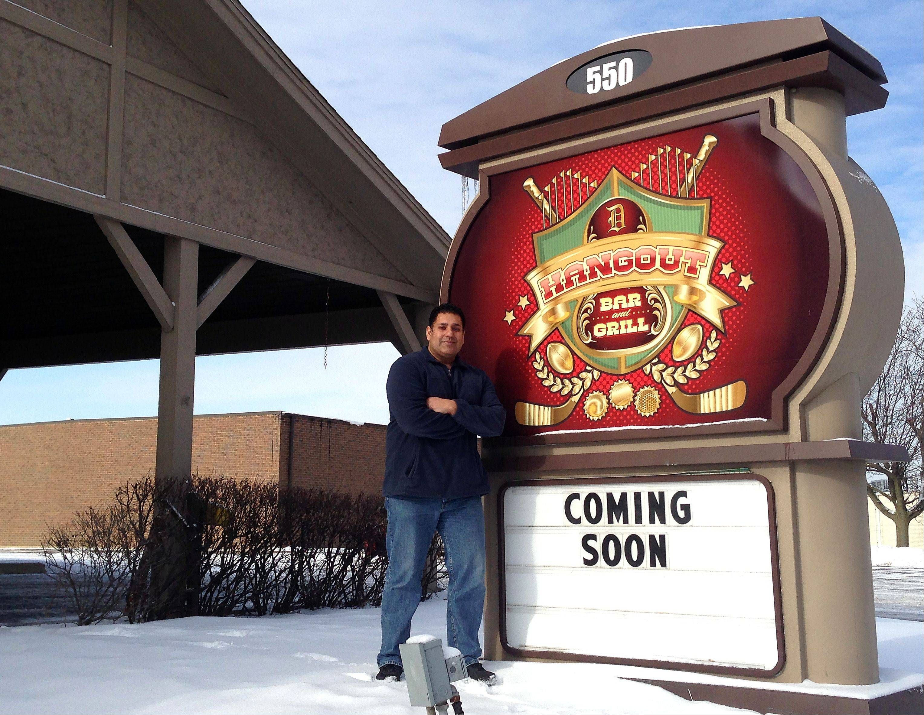 D Hangout Bar and Grill at 550 S. McLean Blvd., Elgin, will open Jan. 3, pending final health and building inspections, said owner Mike Deol of Streamwood, a former professional wrestler.