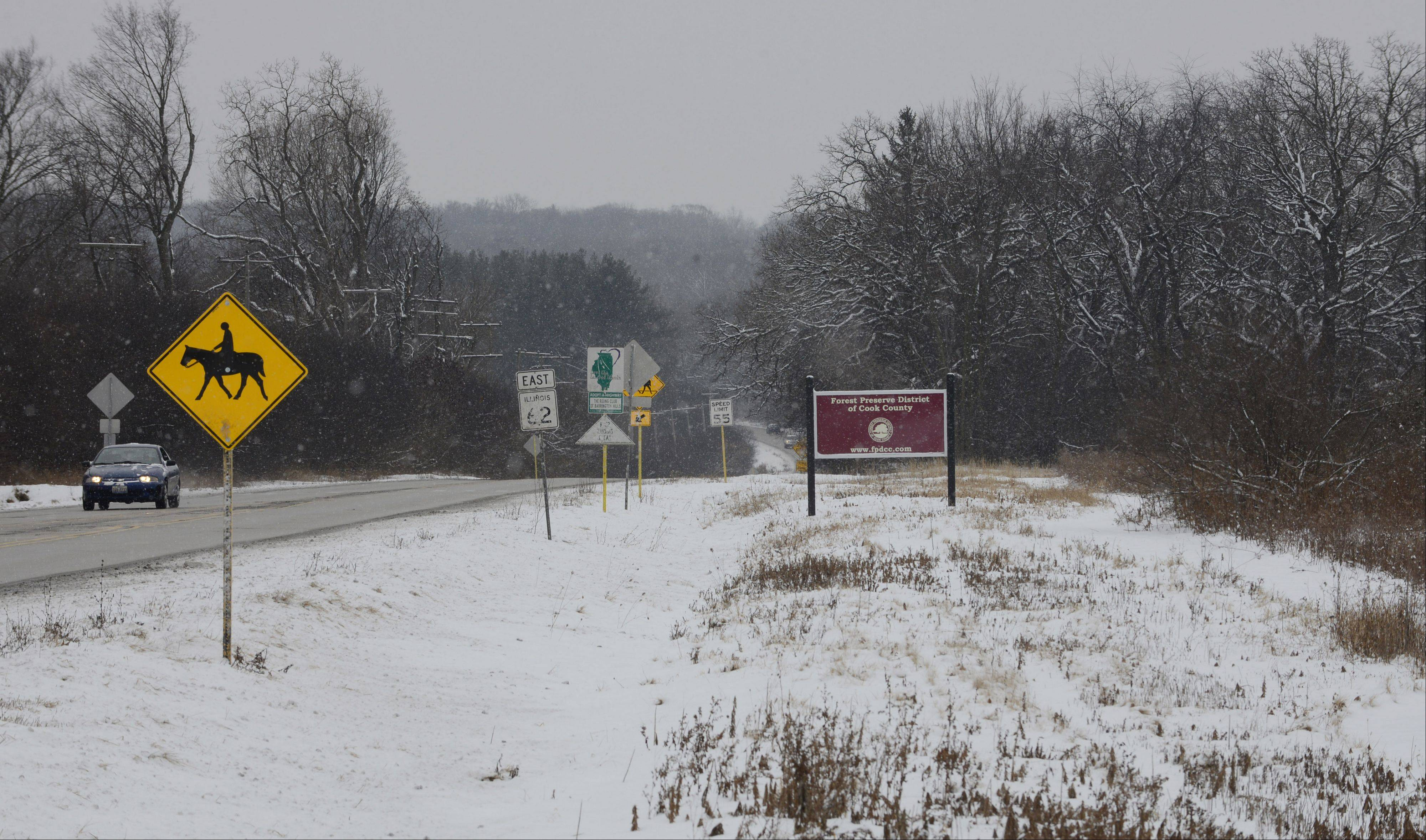 A bridle path crosses Route 62 near Bateman Road from the Cook County Forest Preserve in Barrington Hills. The body of a 37-year-old Wauconda man was found in the area Christmas Day. Foul play is not suspected.