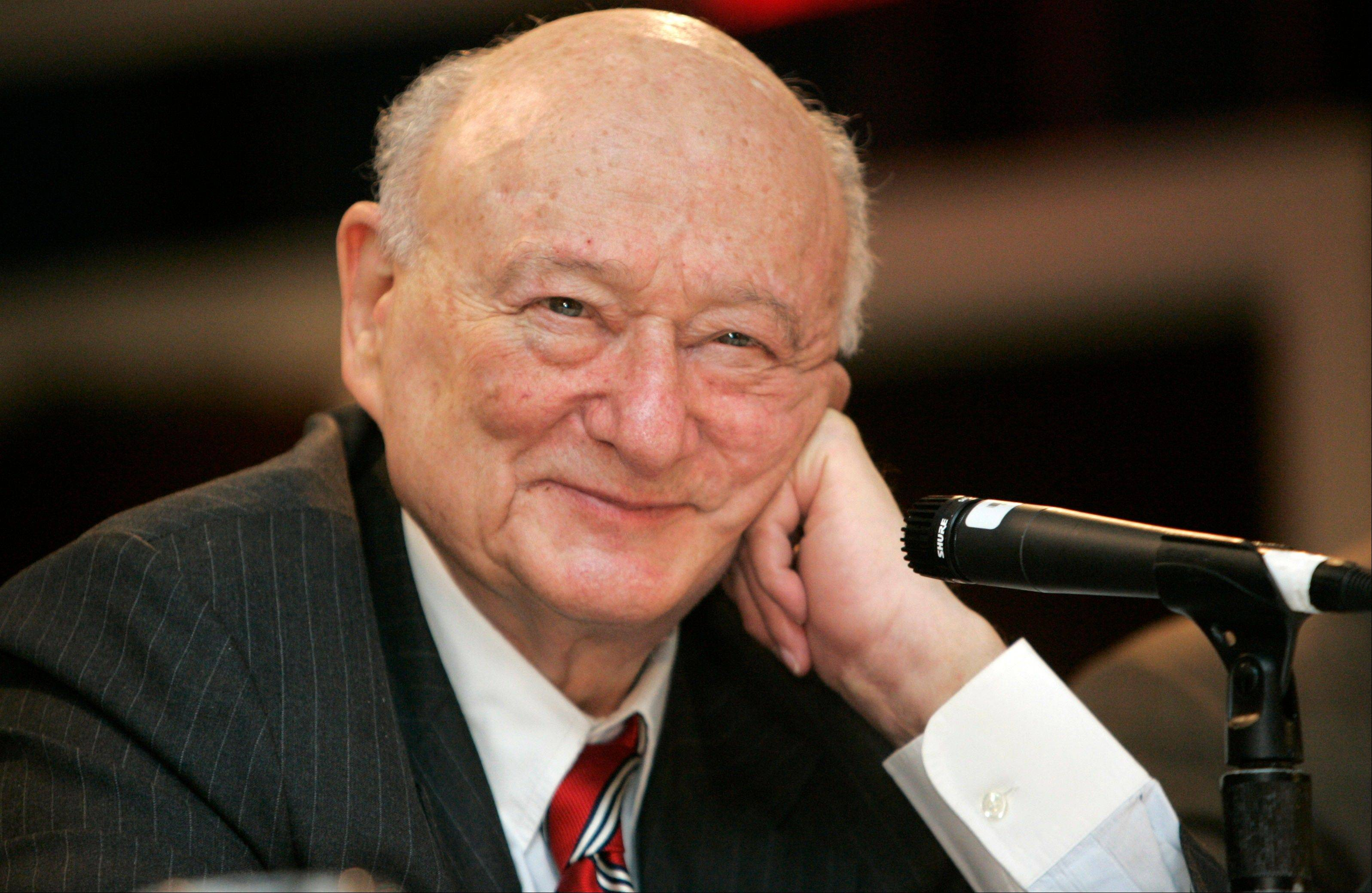 In this April 18, 2007, file photo, former New York Mayor Ed Koch listens during the 9th annual National Action Network convention in New York. Koch, the combative politician who rescued the city from near-financial ruin during three City Hall terms, died Friday, Feb. 1, 2013. He was 88.