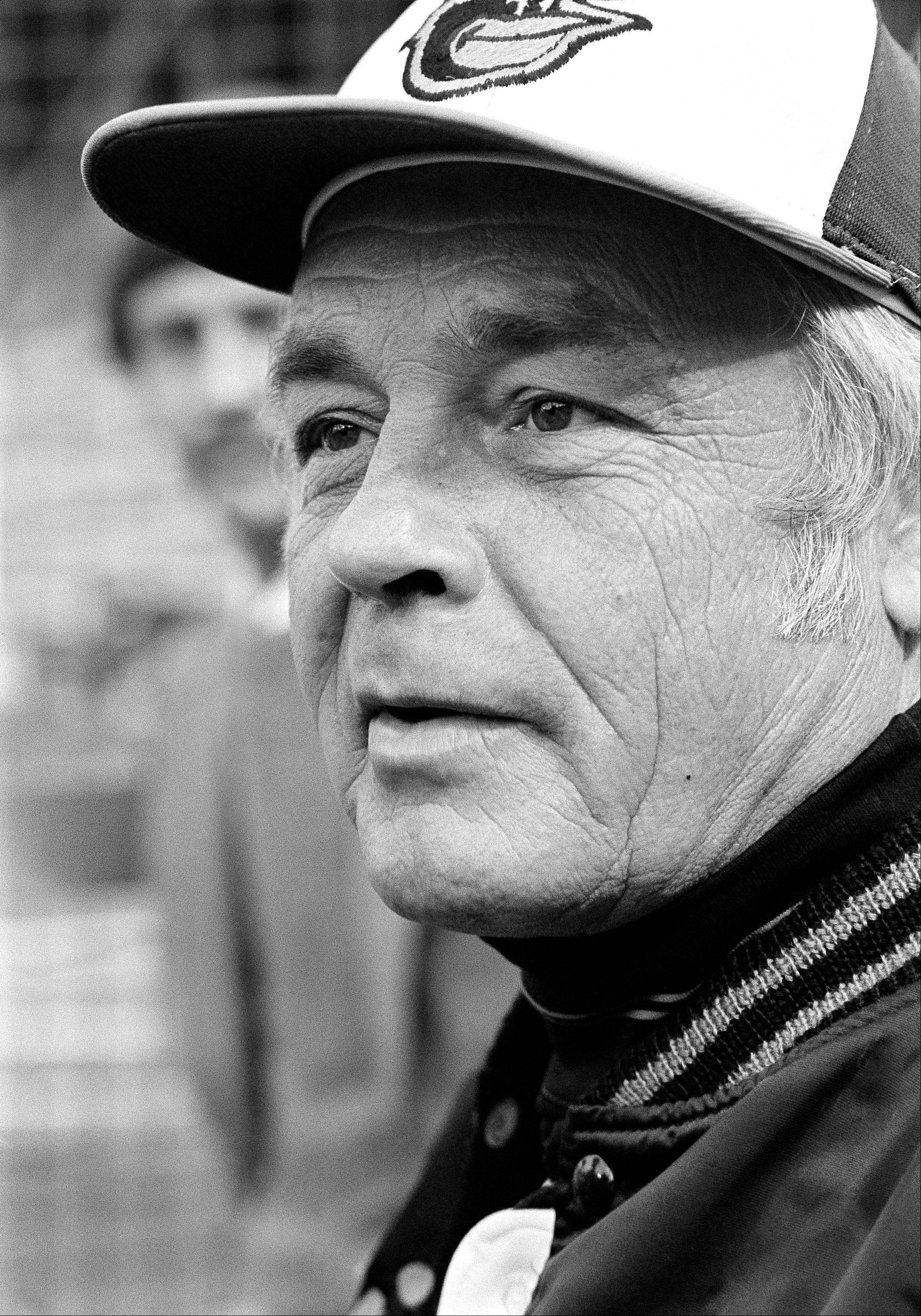 In this Wednesday, Oct. 11, 1979 file photo, manager Earl Weaver speaks to reporters outside the Baltimore Orioles' dugout just before the second game of World Series against Pittsburgh Pirates in Baltimore. Weaver, the Hall of Fame manager who won 1,480 games with the Baltimore Orioles died Jan. 19, 2013. He was 82.